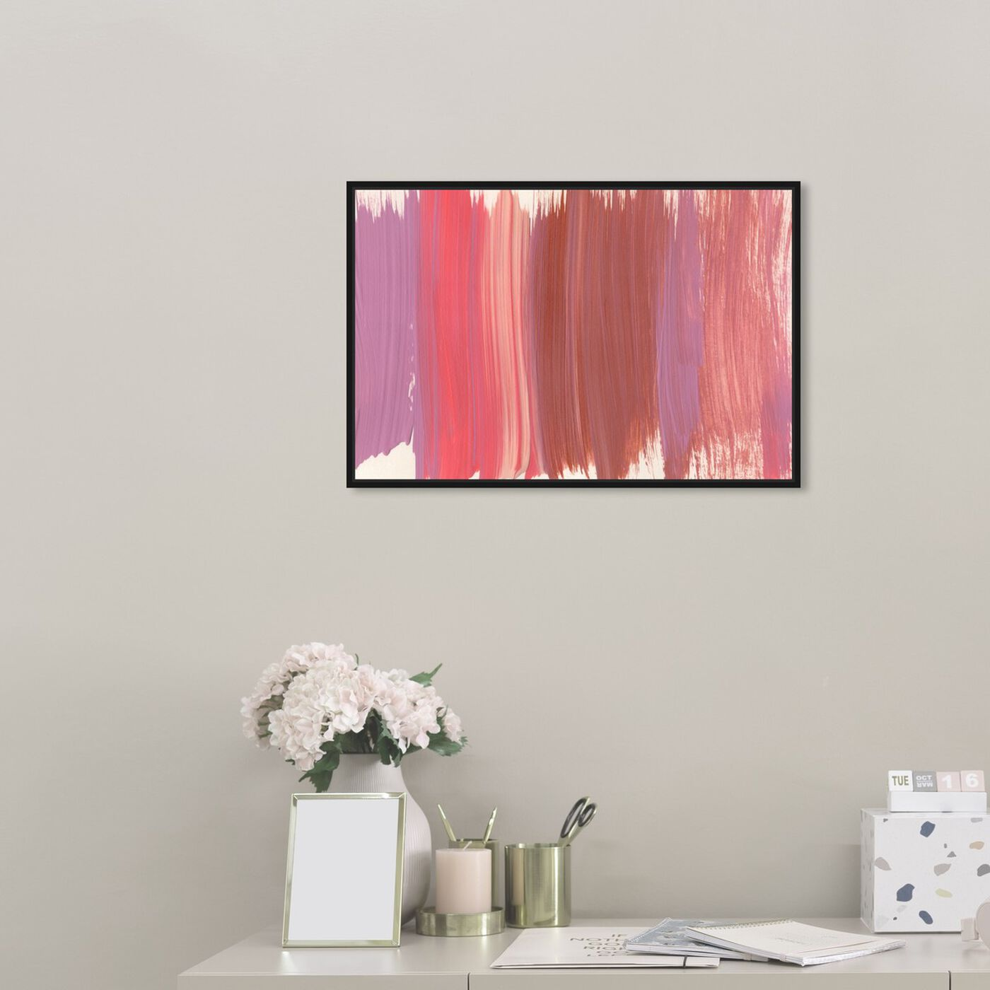 Hanging view of Crème Douce featuring abstract and paint art.