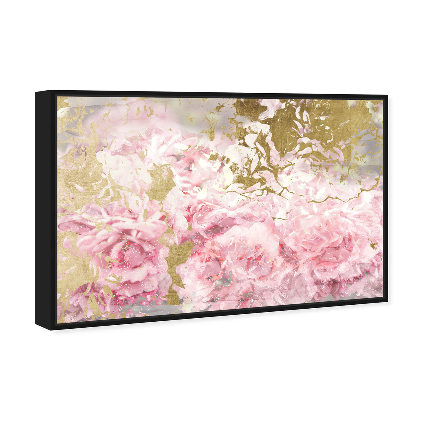 Angled view of Pink and Gold Camellias featuring floral and botanical and florals art.