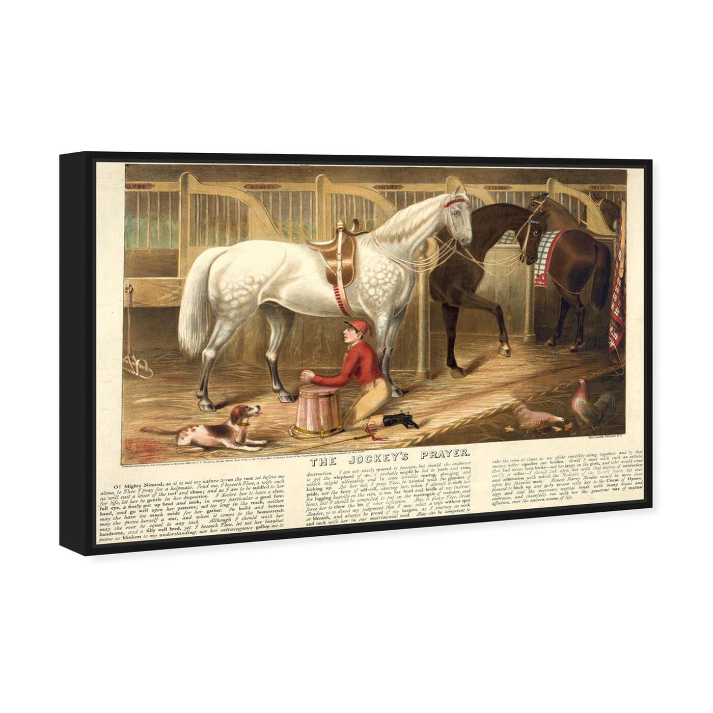 Angled view of The Jockey's Prayer featuring animals and farm animals art.