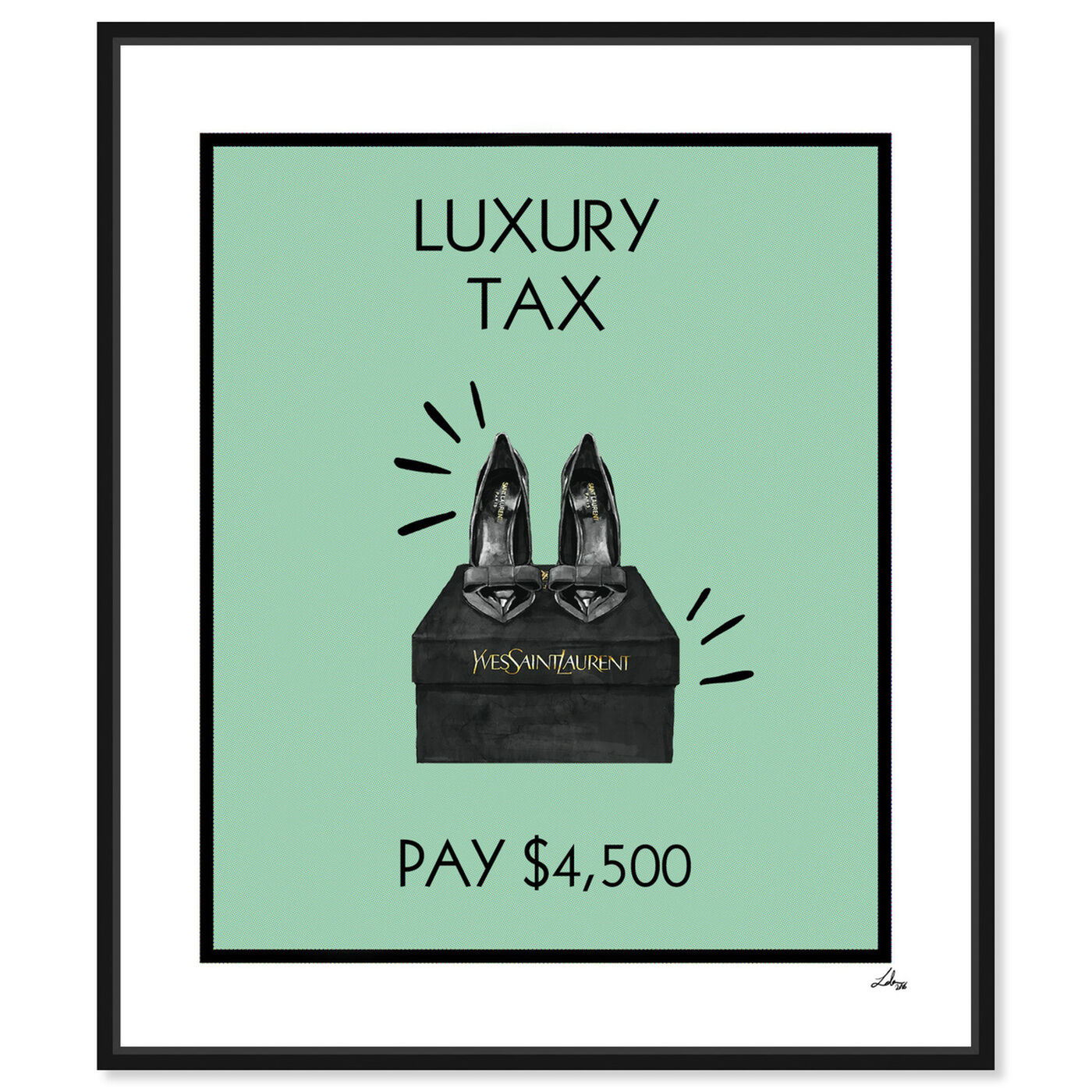 Front view of Luxury Tax Shoes featuring fashion and glam and shoes art.