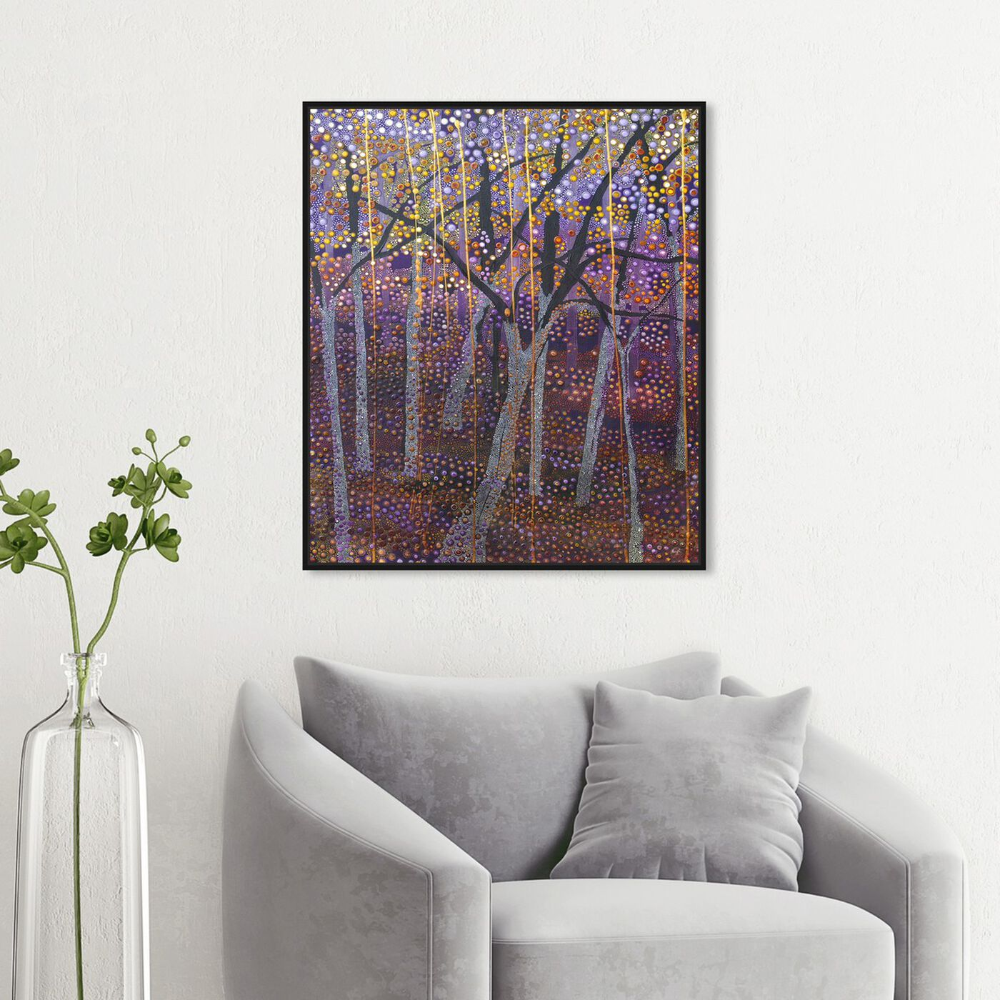 Hanging view of Enriqueta Ahrensburg - Black Night featuring nature and landscape and forest landscapes art.