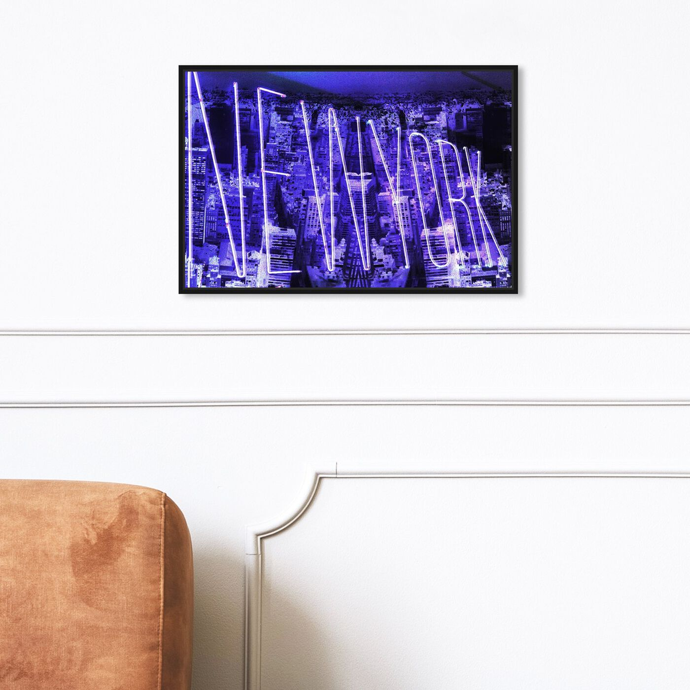 Hanging view of New York Neon featuring cities and skylines and united states cities art.