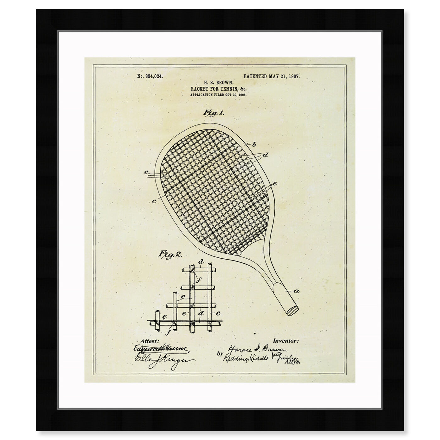 Front view of Tennis Racket 1907 featuring sports and teams and tennis art.