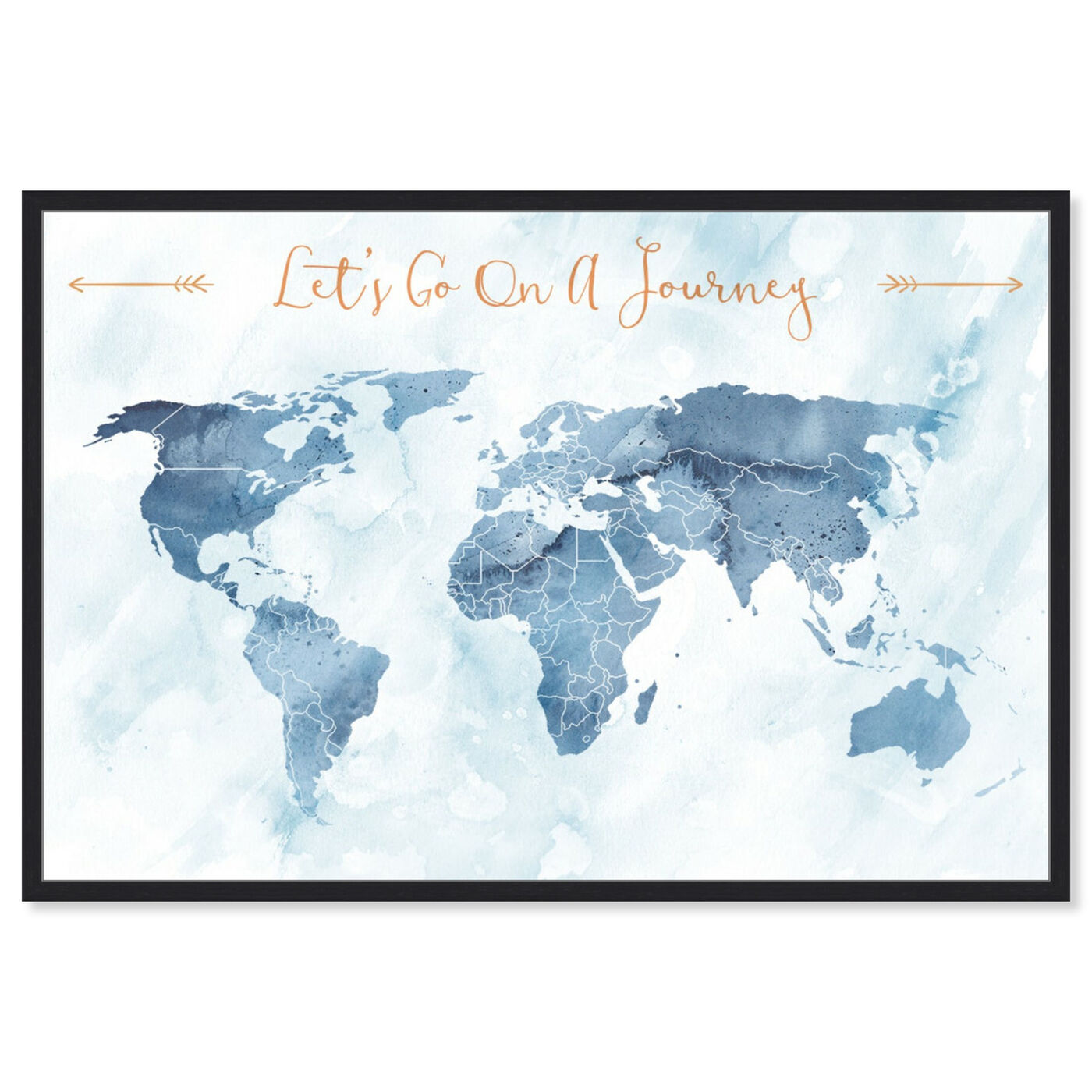 Front view of Lets Go On A Journey featuring maps and flags and world maps art.