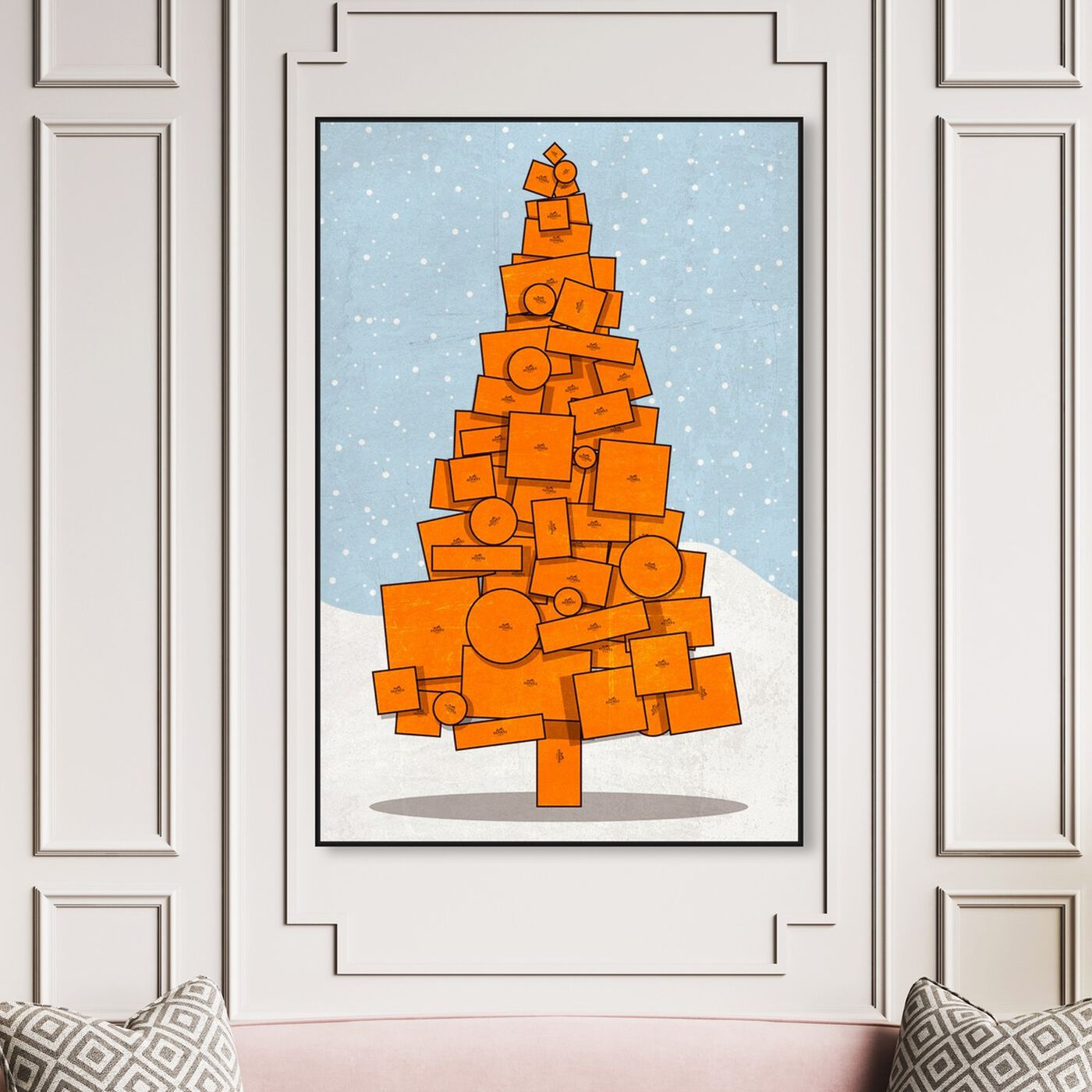 Hanging view of Orange Christmas featuring fashion and glam and lifestyle art.