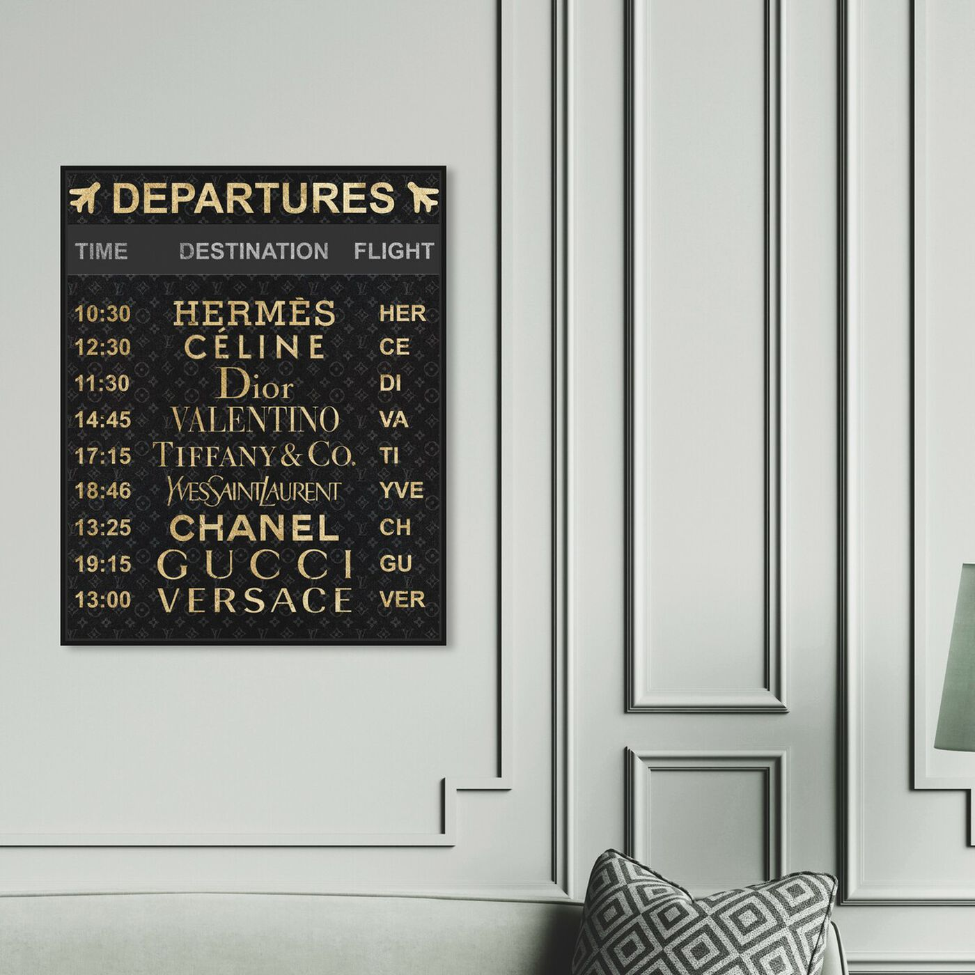 Hanging view of Luxe Departures featuring fashion and glam and travel essentials art.