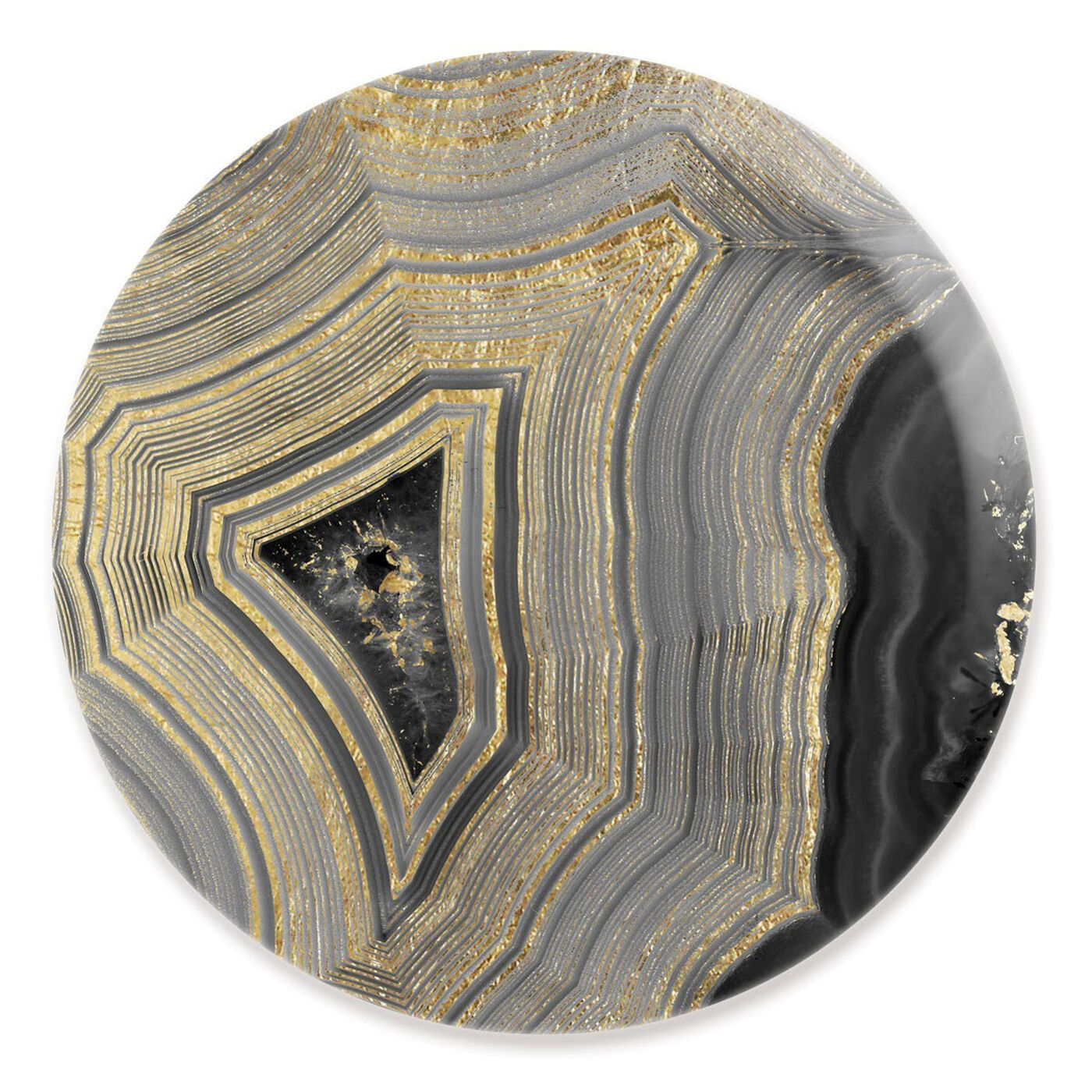 Front view of Dubbio Geode Round featuring abstract and crystals art.