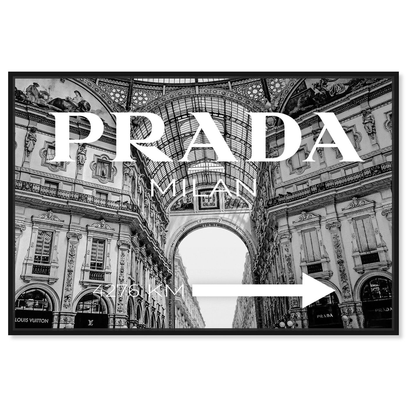 Front view of Milan Galleria Roadsign Noir featuring fashion and glam and road signs art.