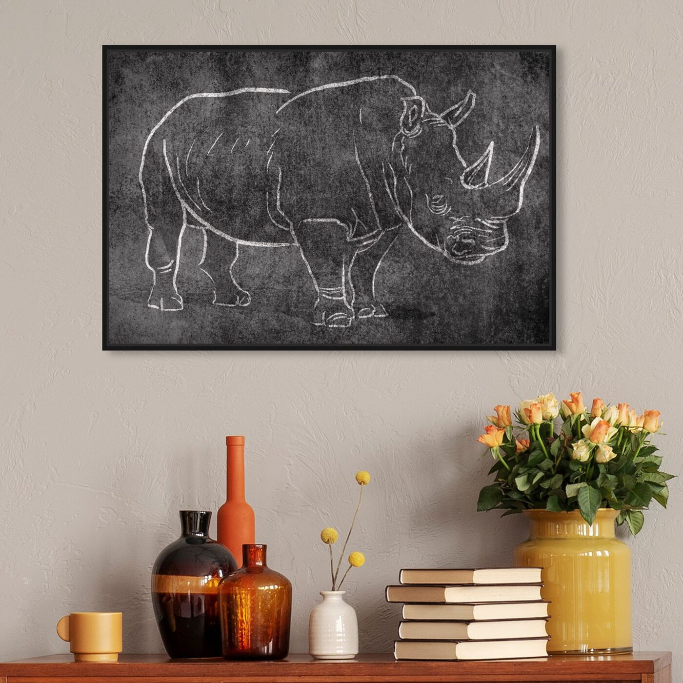 Hanging view of Chalk Rhino featuring animals and zoo and wild animals art.