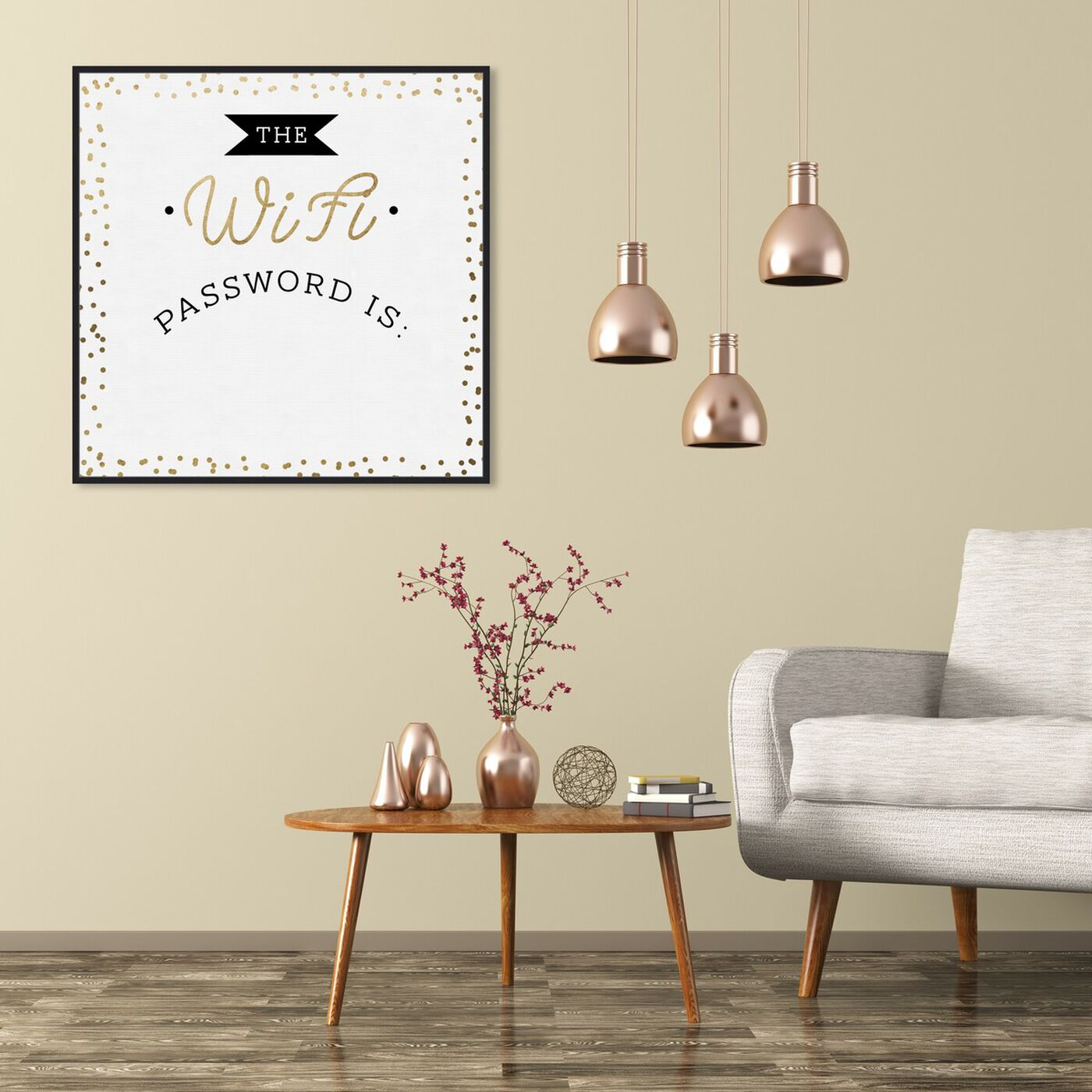 Hanging view of Wifi Confetti Gold featuring typography and quotes and family quotes and sayings art.