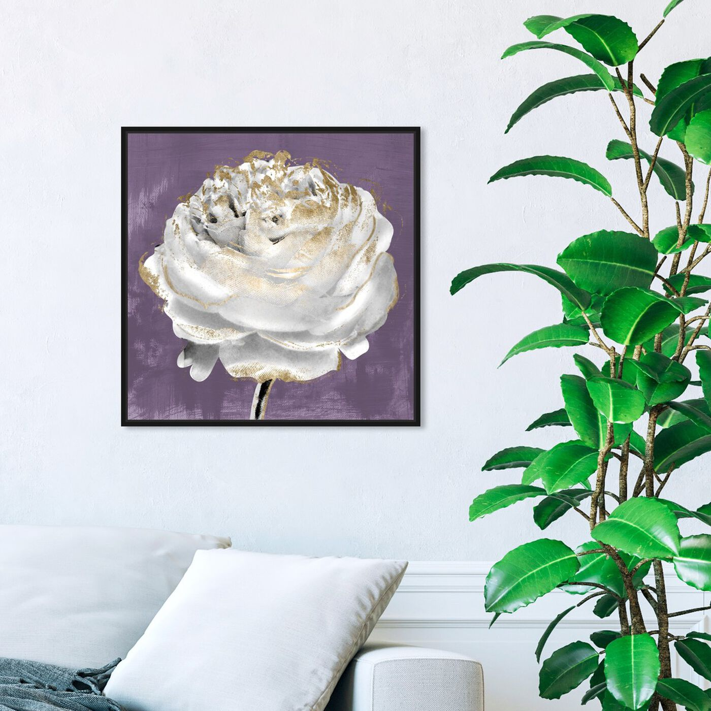 Hanging view of Lilac Ranunculus featuring floral and botanical and florals art.