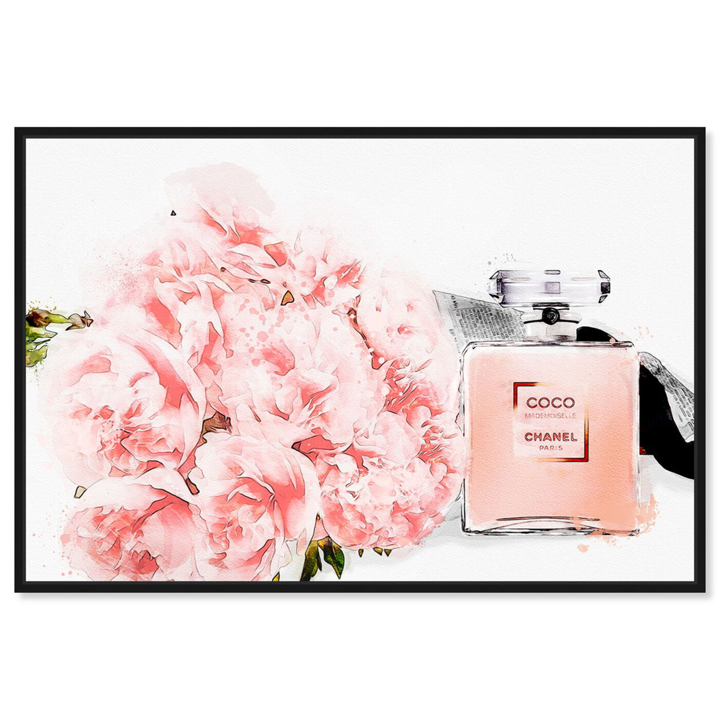 Front view of Flowers and Perfume featuring fashion and glam and perfumes art.