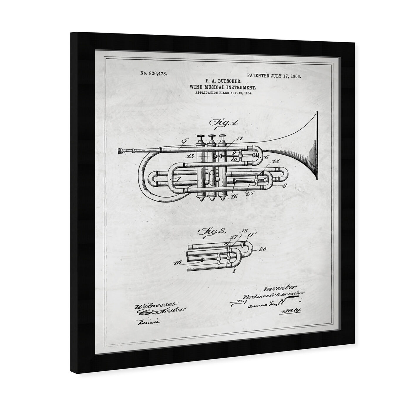 Angled view of Wind Musical Instrument 1906 Blueprint featuring music and dance and music instruments art.