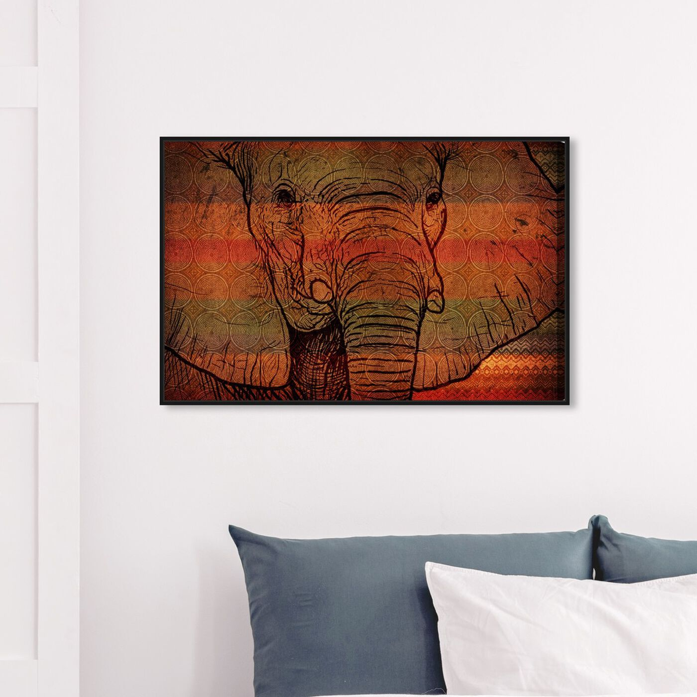 Hanging view of The Desert Elephant of Mali featuring animals and zoo and wild animals art.