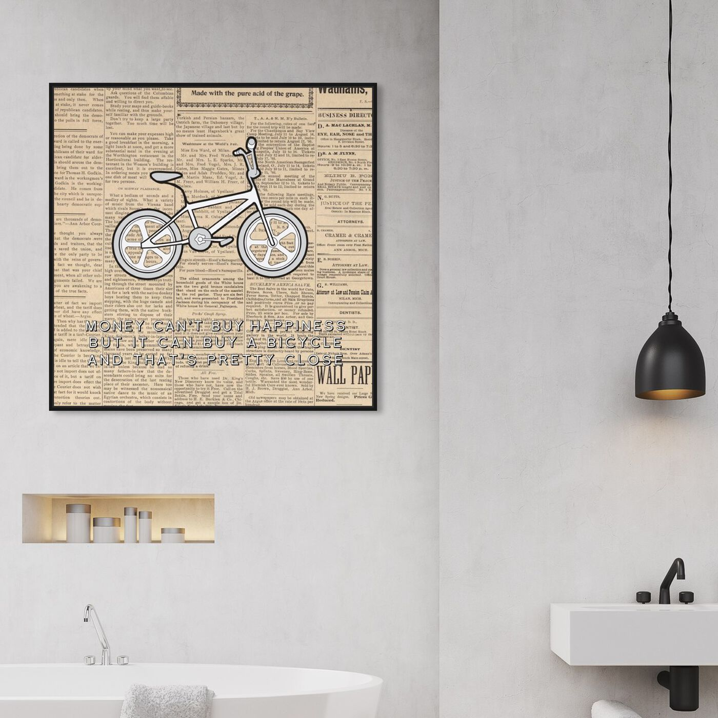 Hanging view of Close to Happiness featuring typography and quotes and inspirational quotes and sayings art.