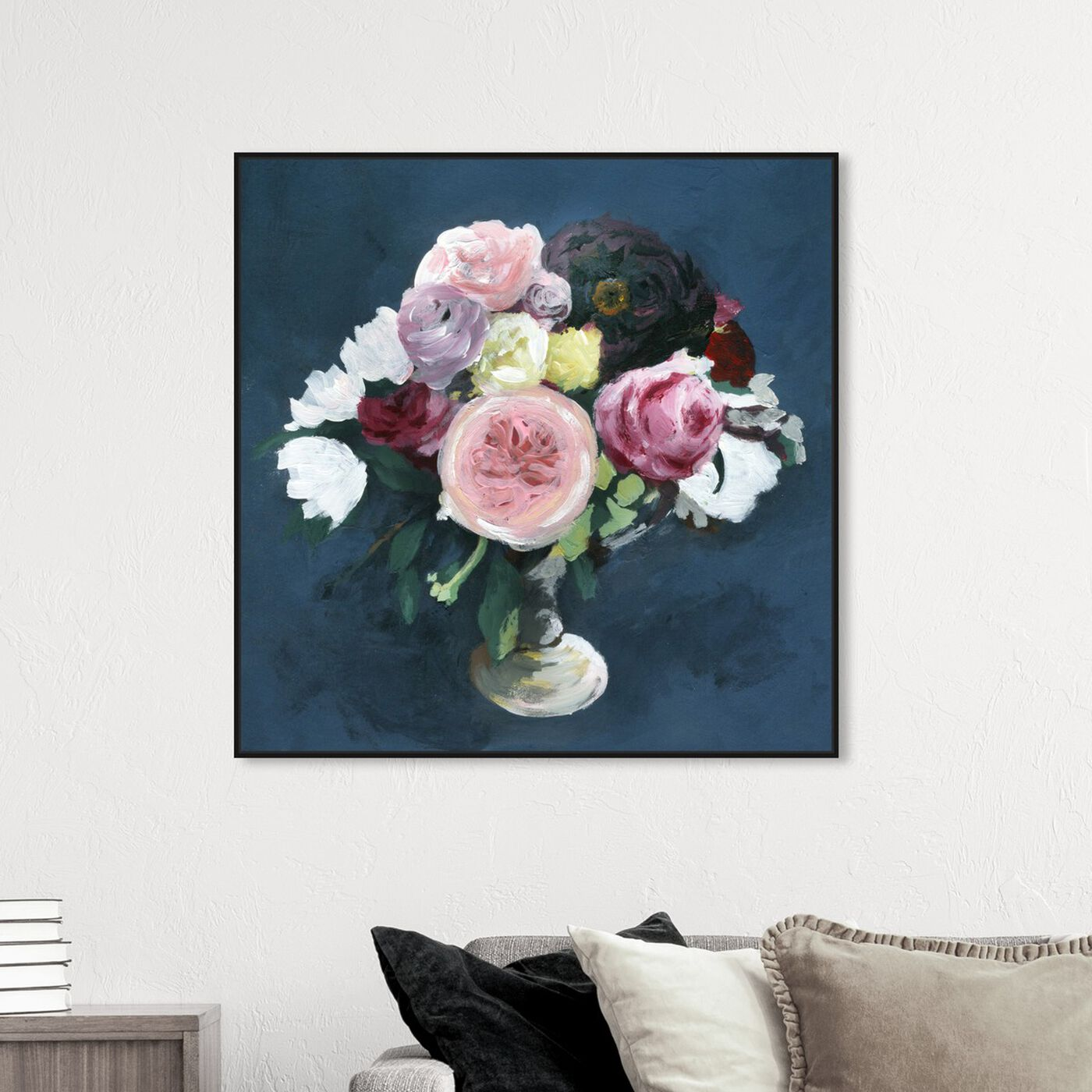 Hanging view of Night Bouquet Blue featuring floral and botanical and florals art.