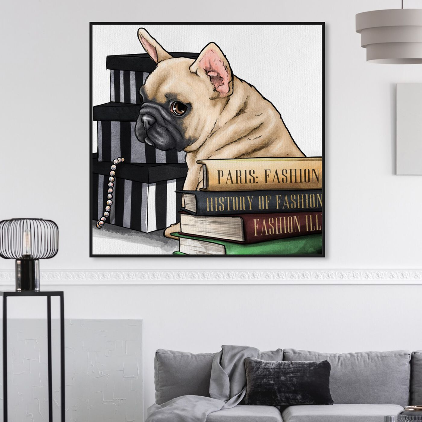 Hanging view of Fashion Books Frenchie featuring animals and dogs and puppies art.