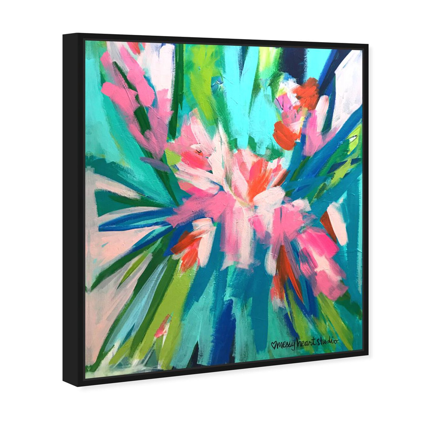 Angled view of Lourdes Wackes -Garden Party II featuring abstract and flowers art.