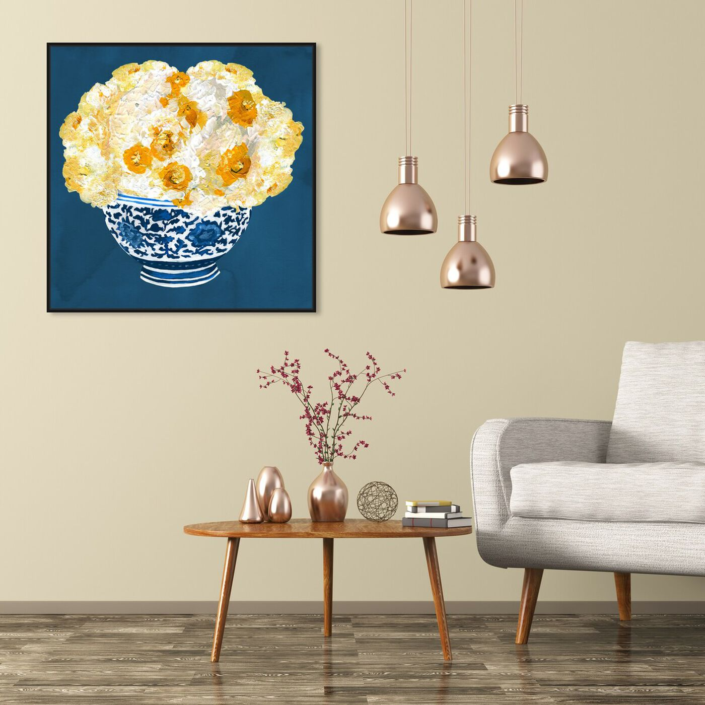 Hanging view of Blue and Yellow Vase featuring floral and botanical and florals art.