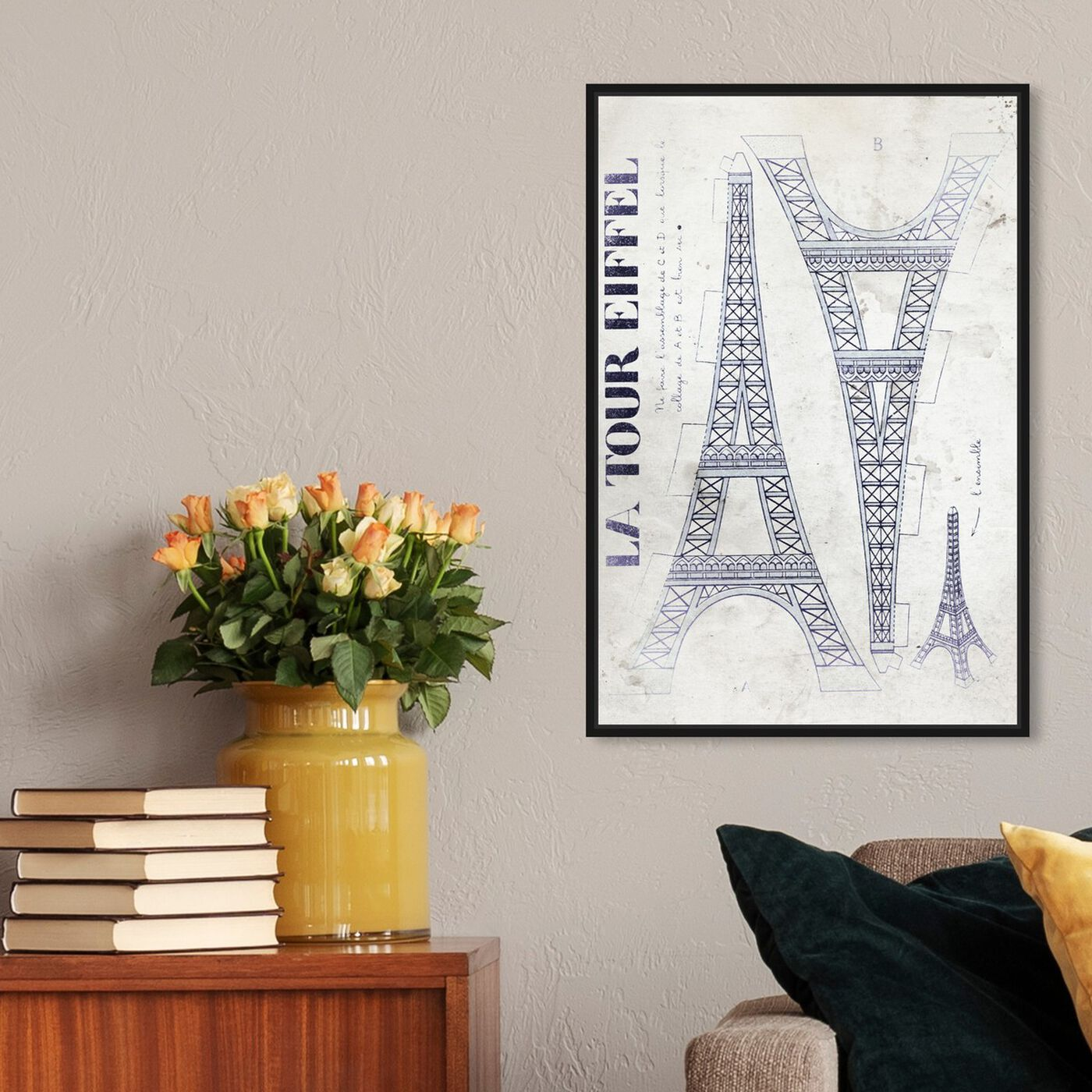 Hanging view of La Tour Eiffel Monochrome featuring architecture and buildings and european buildings art.