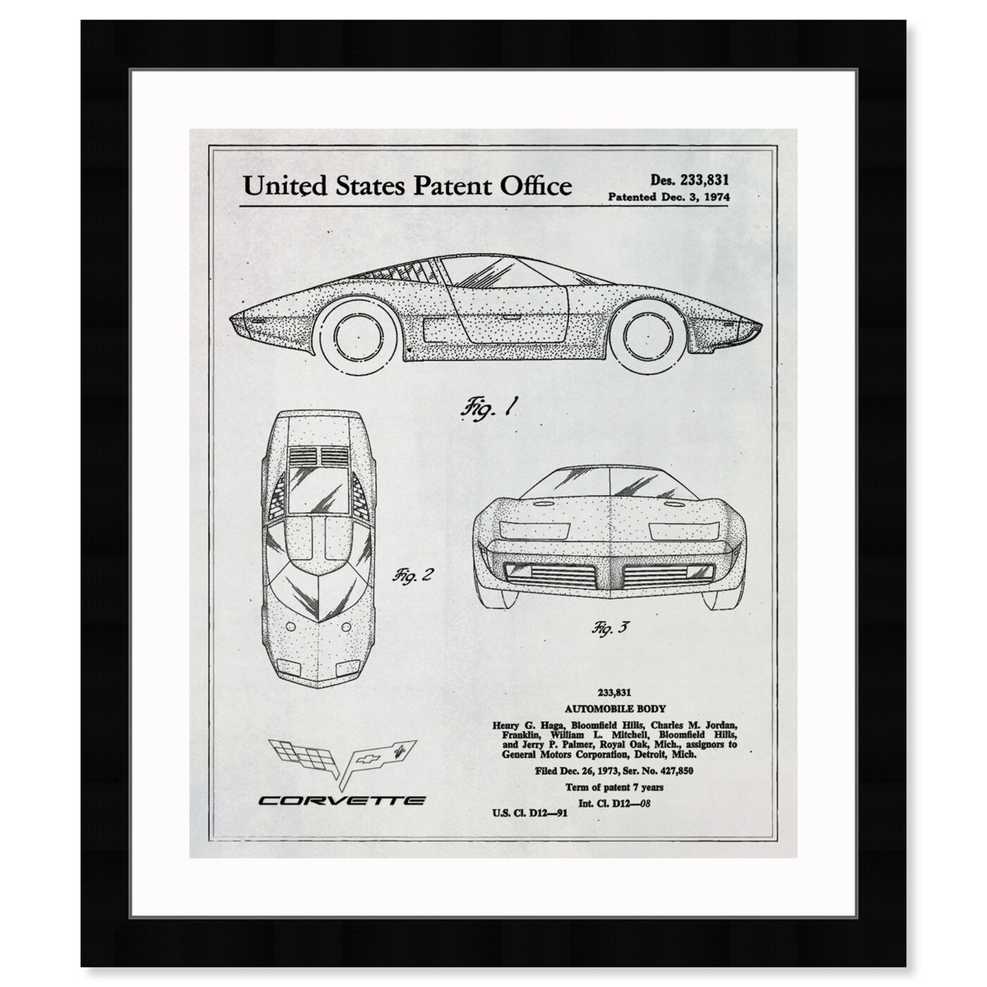 Front view of Corvette 1974 featuring transportation and automobiles art.