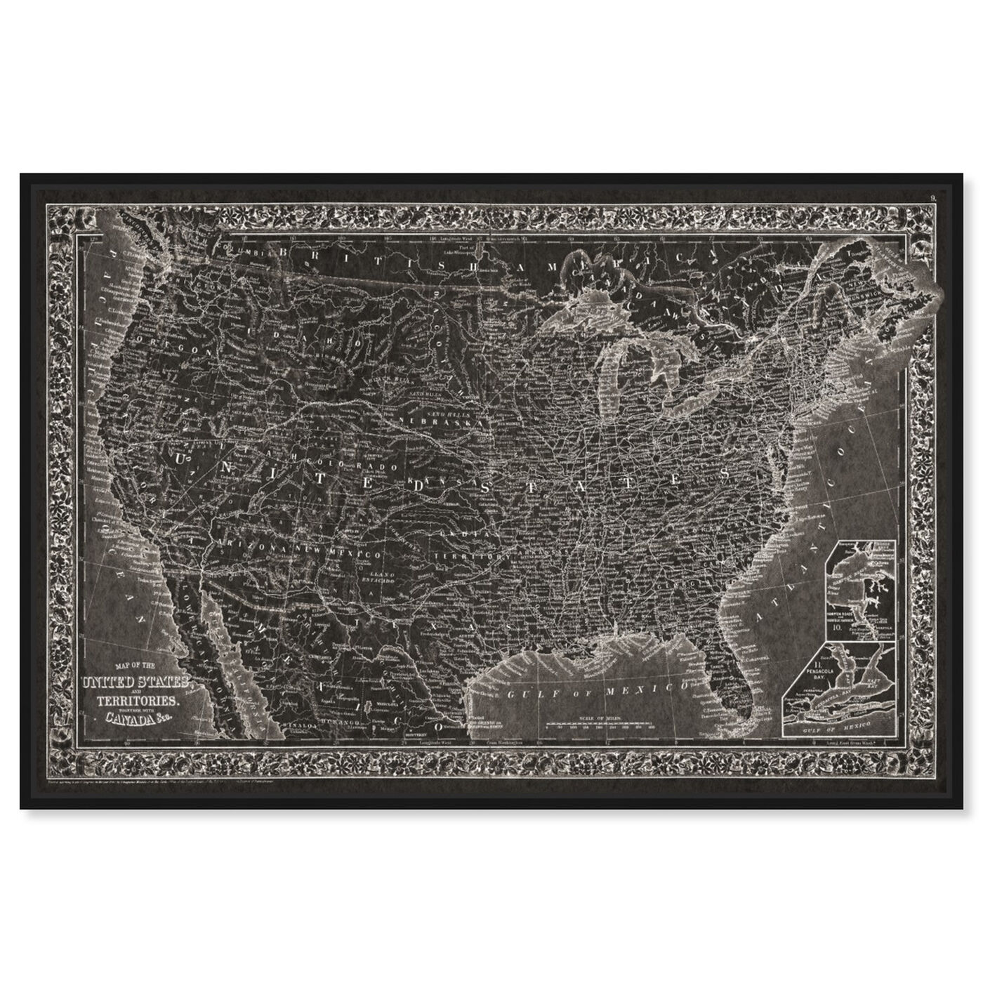 Front view of United States of America Map 1864 featuring maps and flags and american countries maps art.