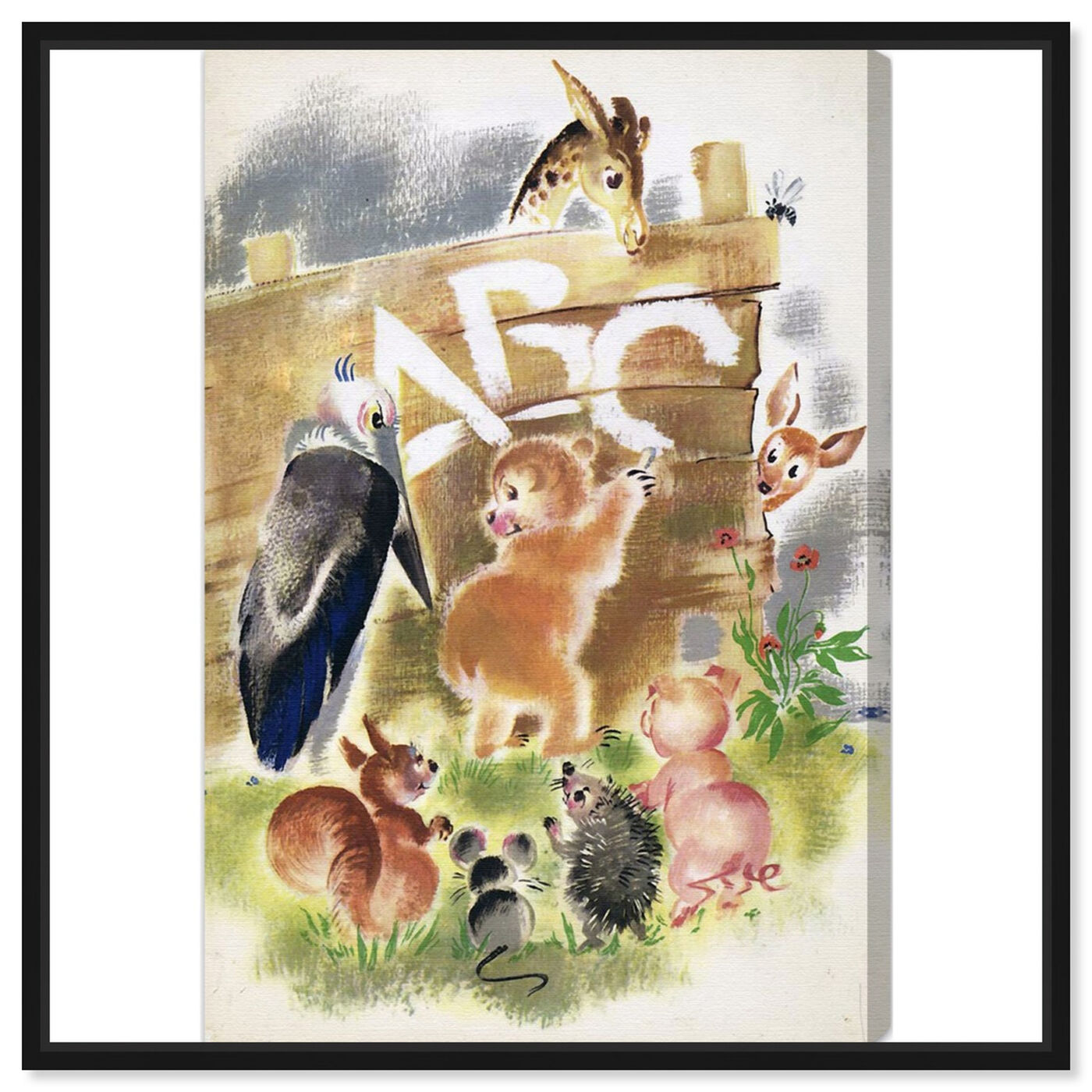 Front view of Animal ABC featuring animals and baby animals art.
