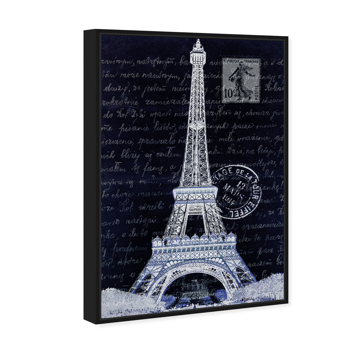 Angled view of Eiffel Thoughts Night featuring architecture and buildings and european buildings art.
