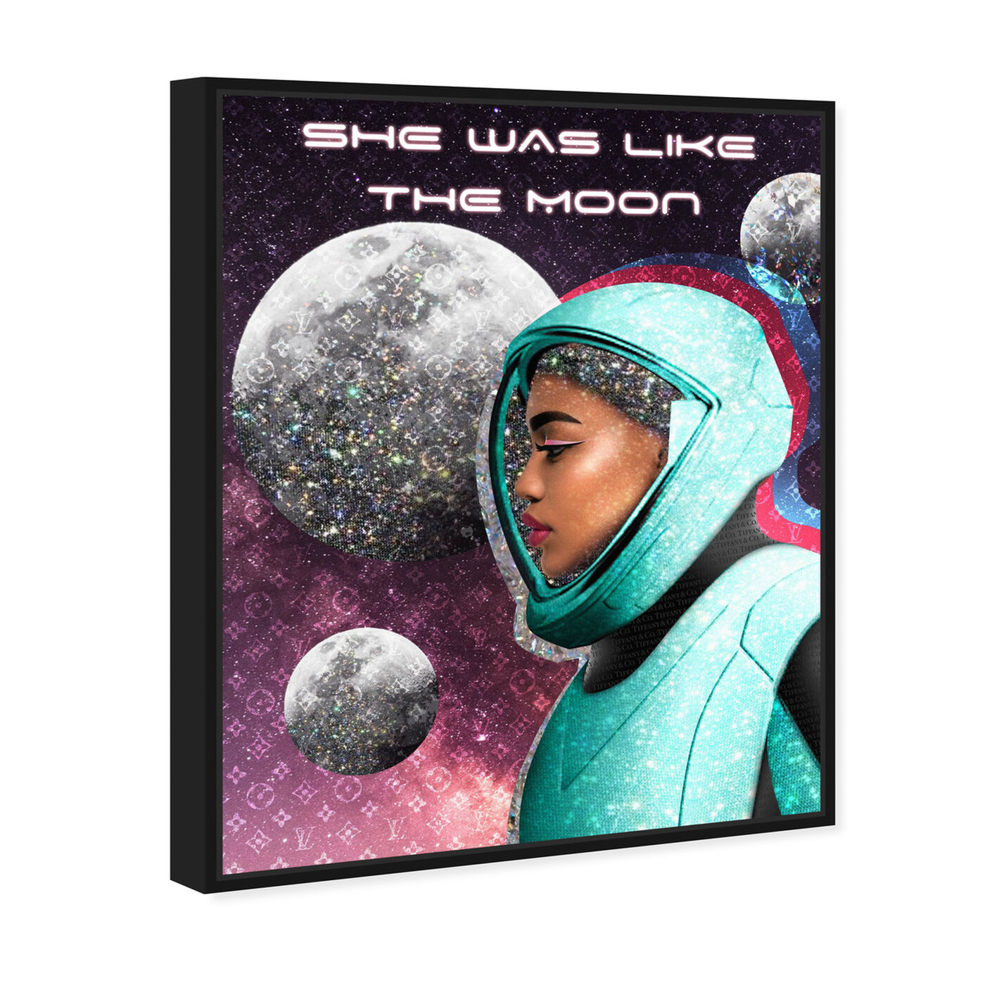 Angled view of She was like the Moon featuring astronomy and space and astronaut art.