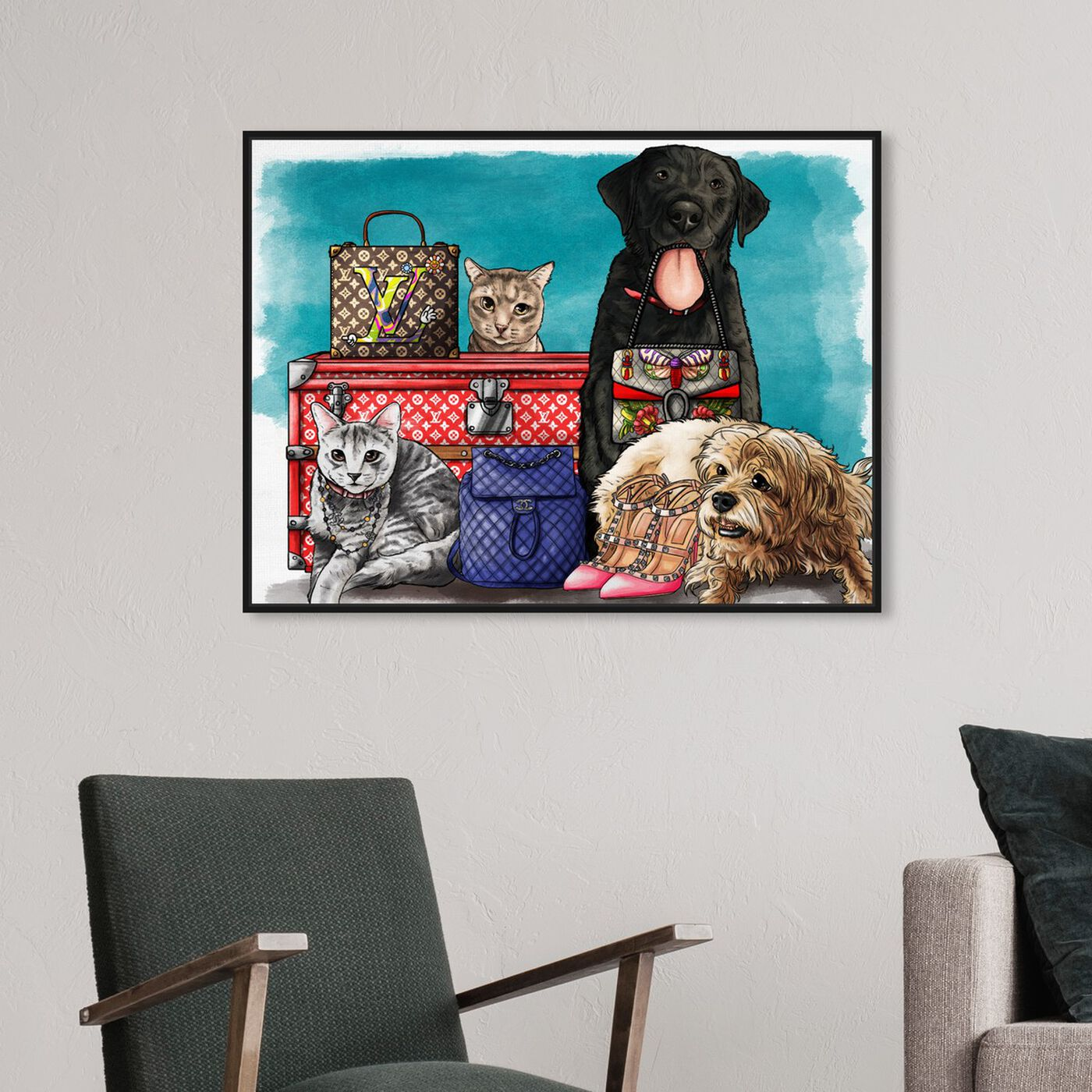 Hanging view of Fashionable Comrades featuring fashion and glam and travel essentials art.