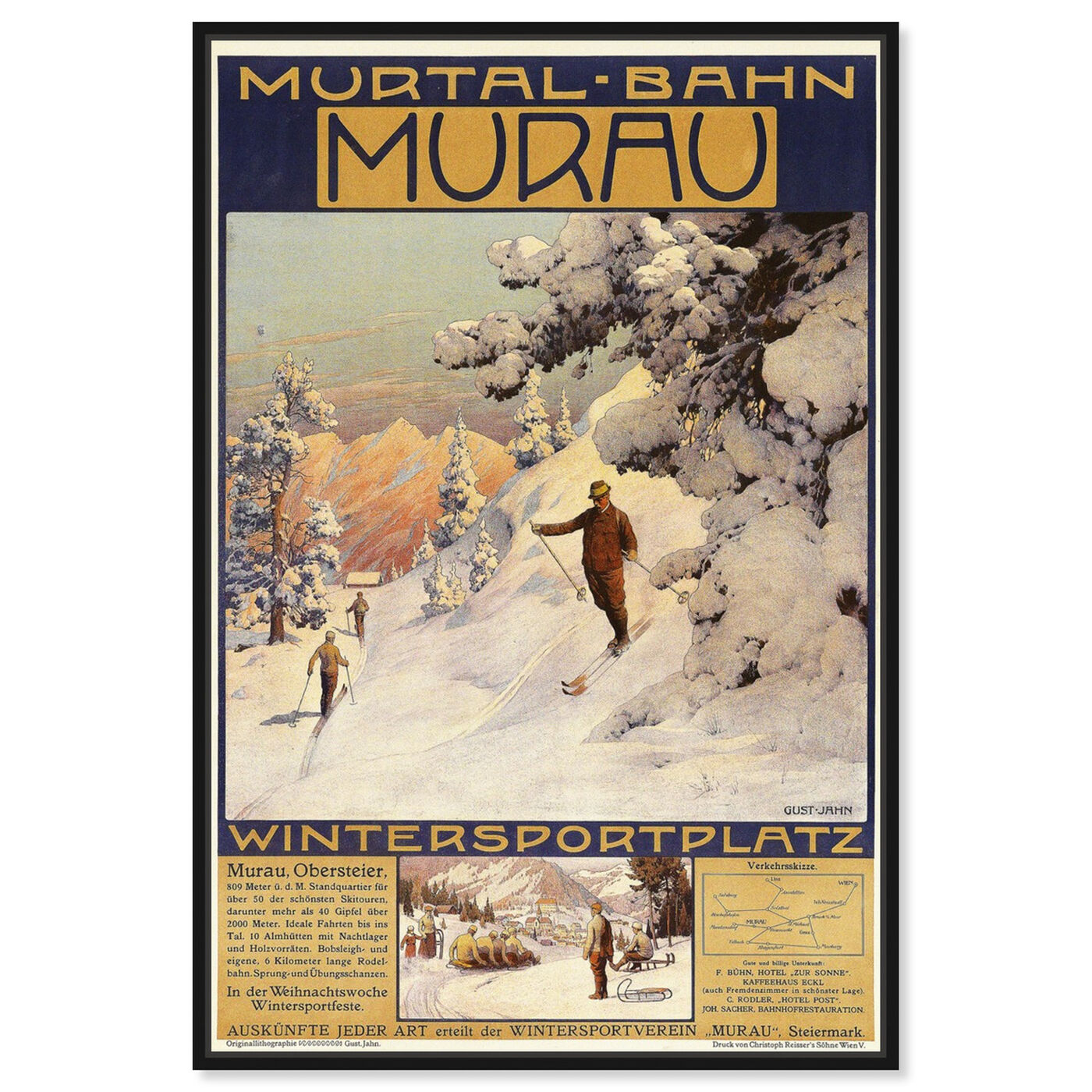 Front view of Murau featuring advertising and posters art.
