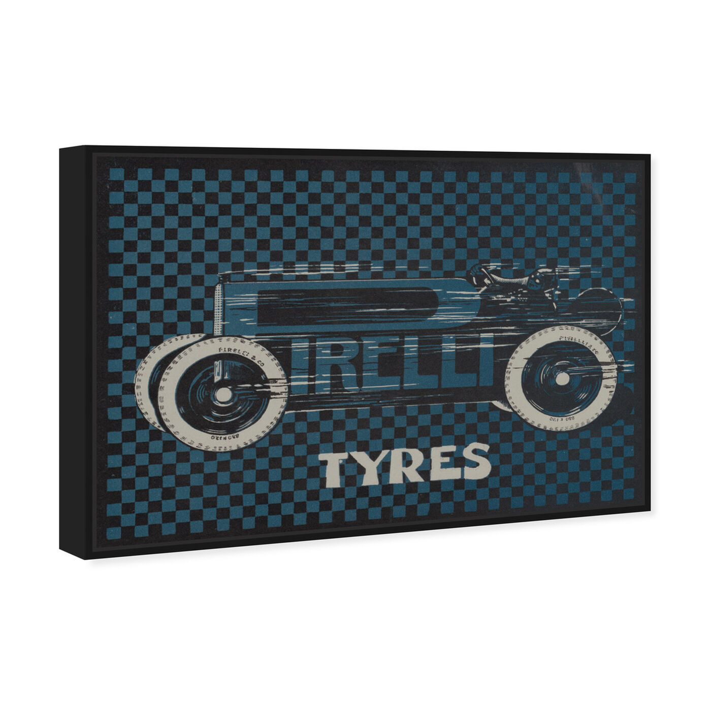 Angled view of Tyres Checkered featuring transportation and automobiles art.