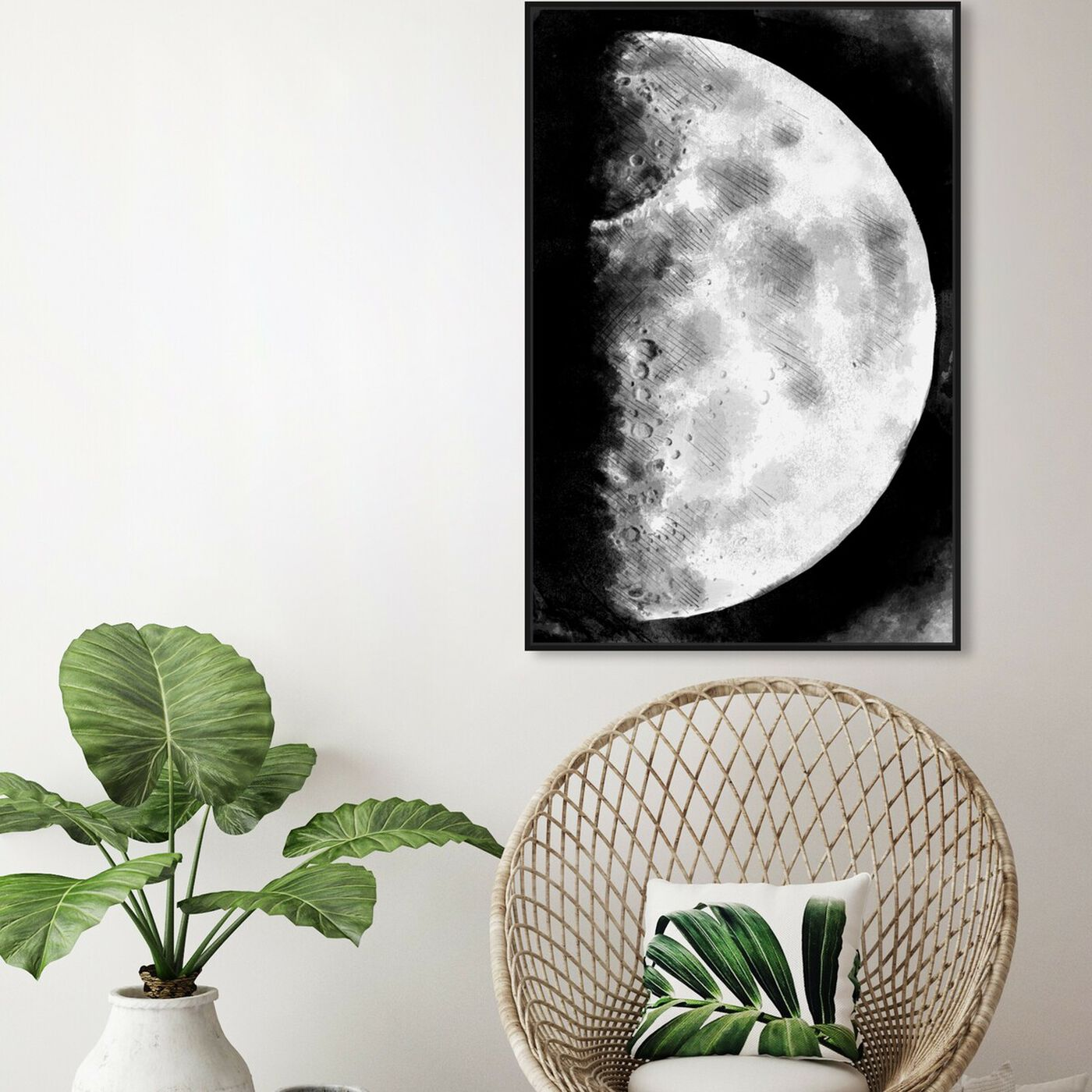 Hanging view of Moon Sketch featuring astronomy and space and moons art.