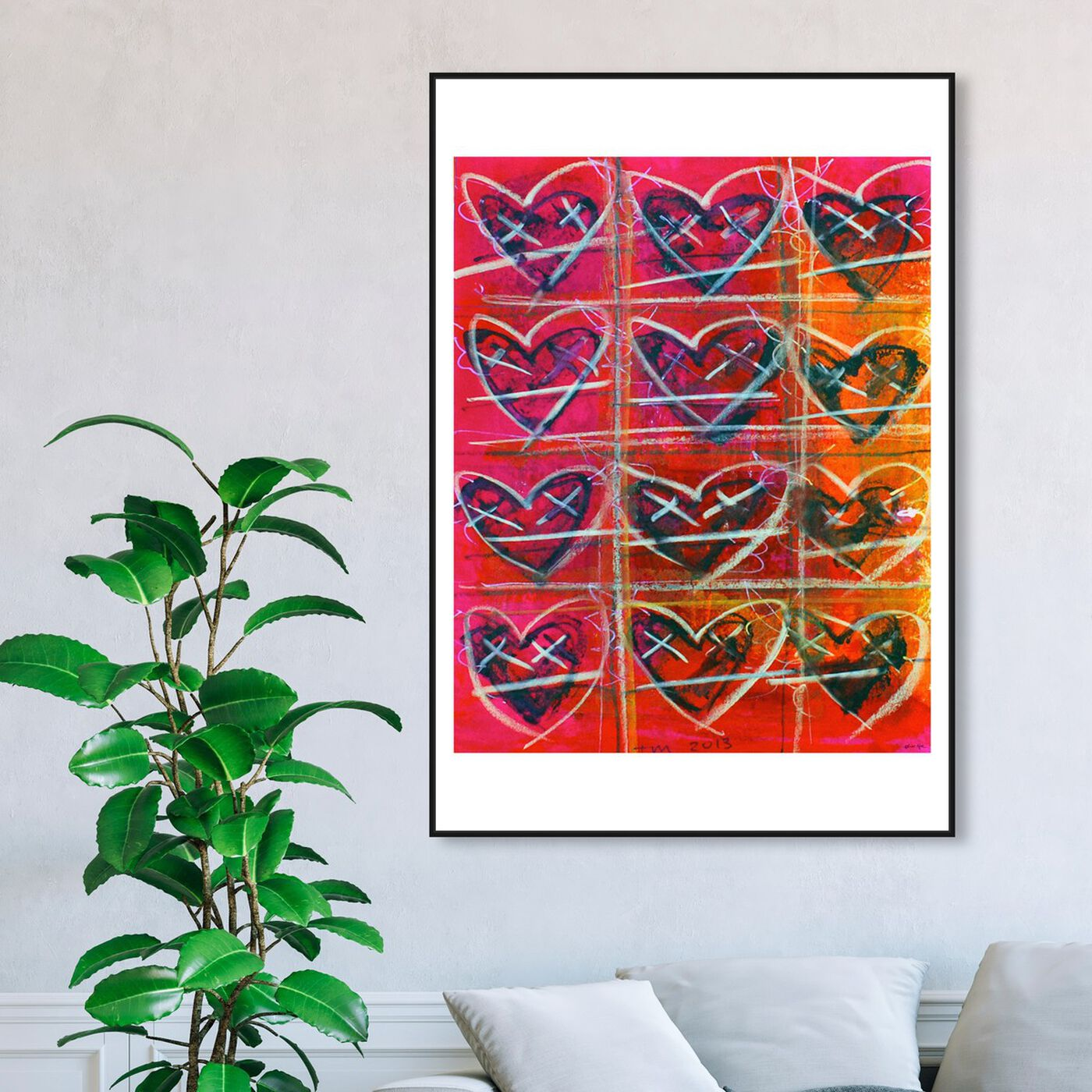 Hanging view of HeartFIRE by Tiago Magro featuring symbols and objects and shapes art.