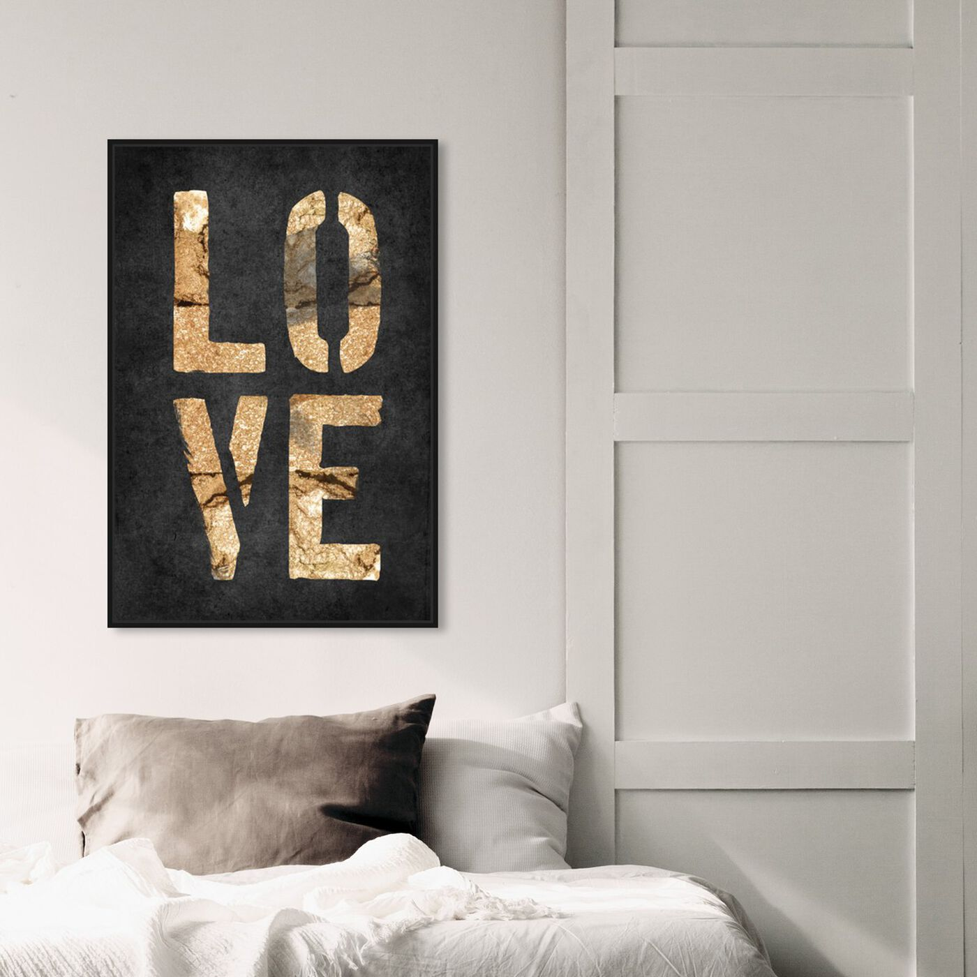 Hanging view of Four Letters Rock featuring typography and quotes and love quotes and sayings art.