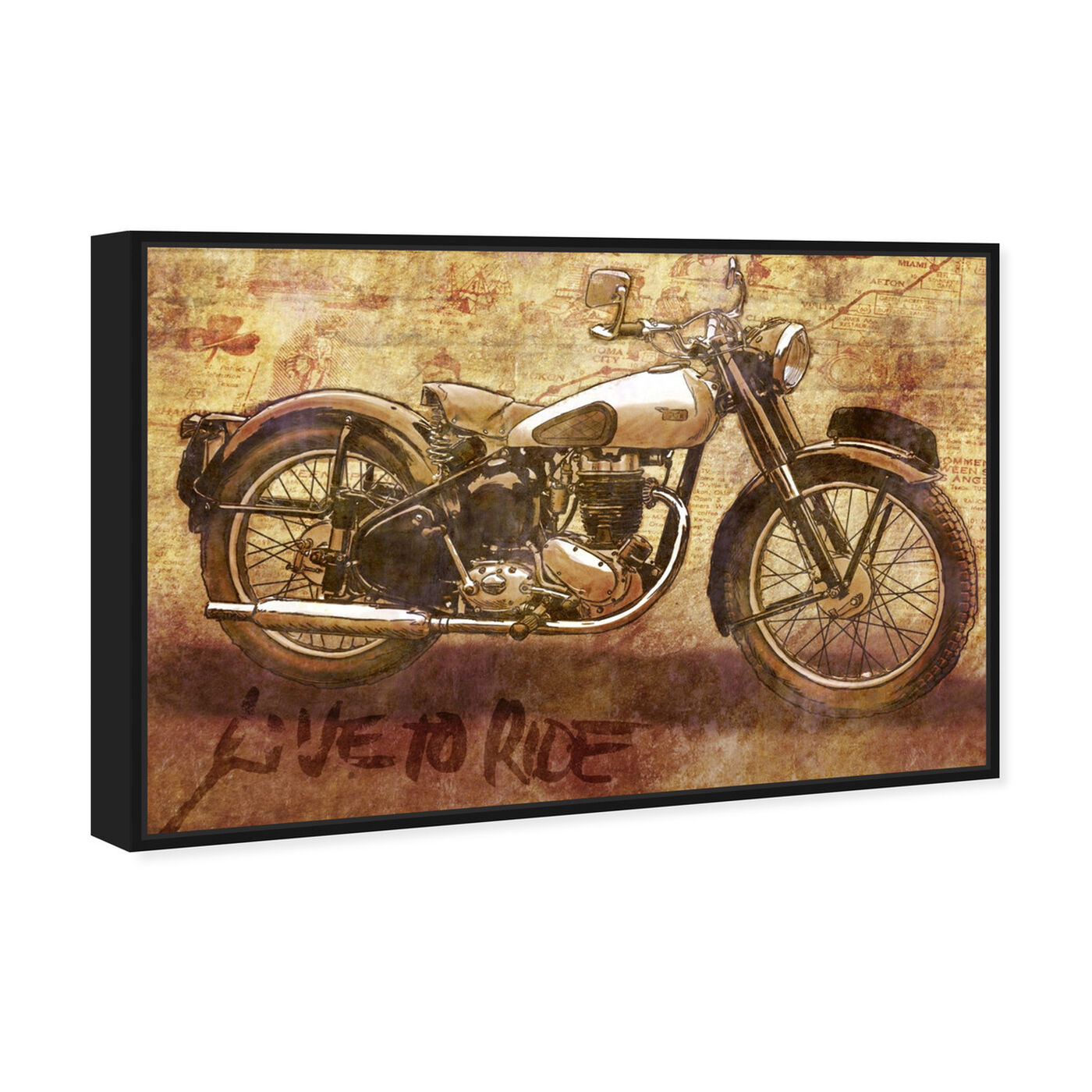 Angled view of Live to Ride featuring transportation and motorcycles art.