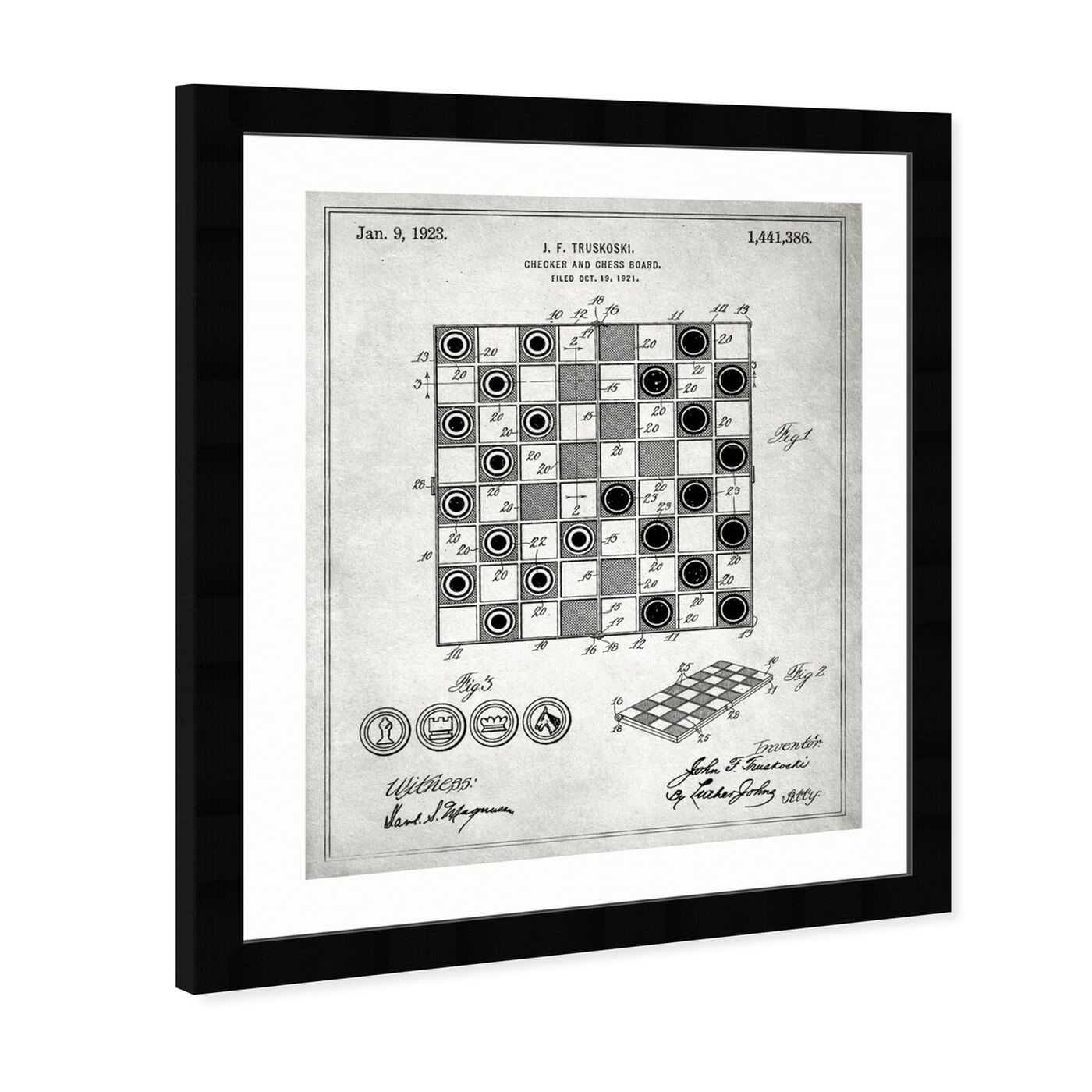 Angled view of Checker And Chess Board 1923 featuring entertainment and hobbies and board games art.