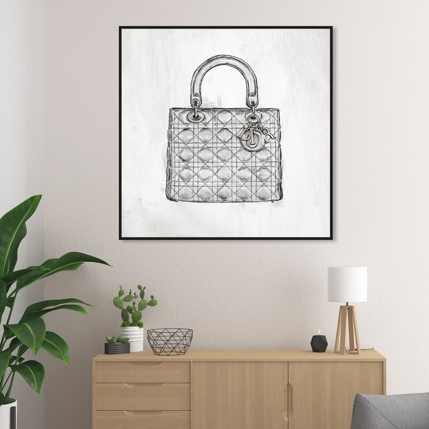Hanging view of Christian's Essentials White featuring fashion and glam and handbags art.