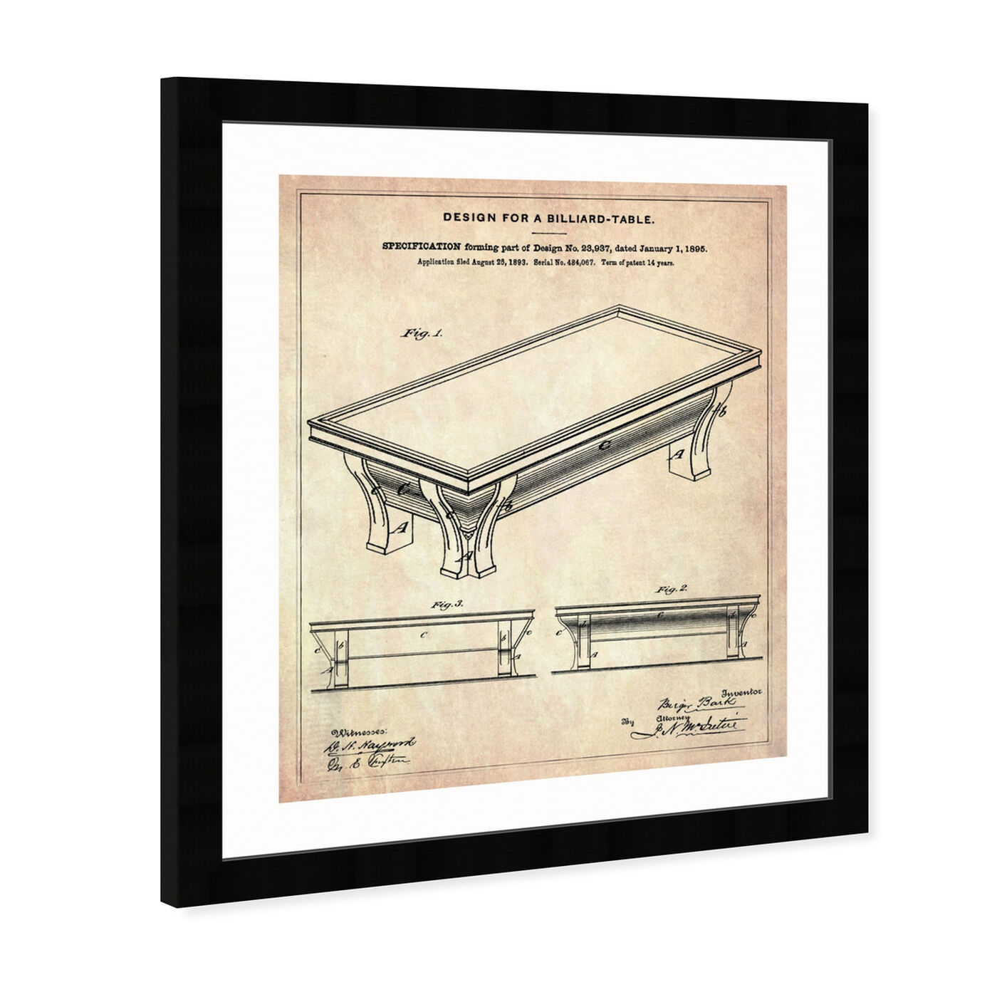 Angled view of Design for a Billiard-Table 1895 featuring entertainment and hobbies and billiards art.