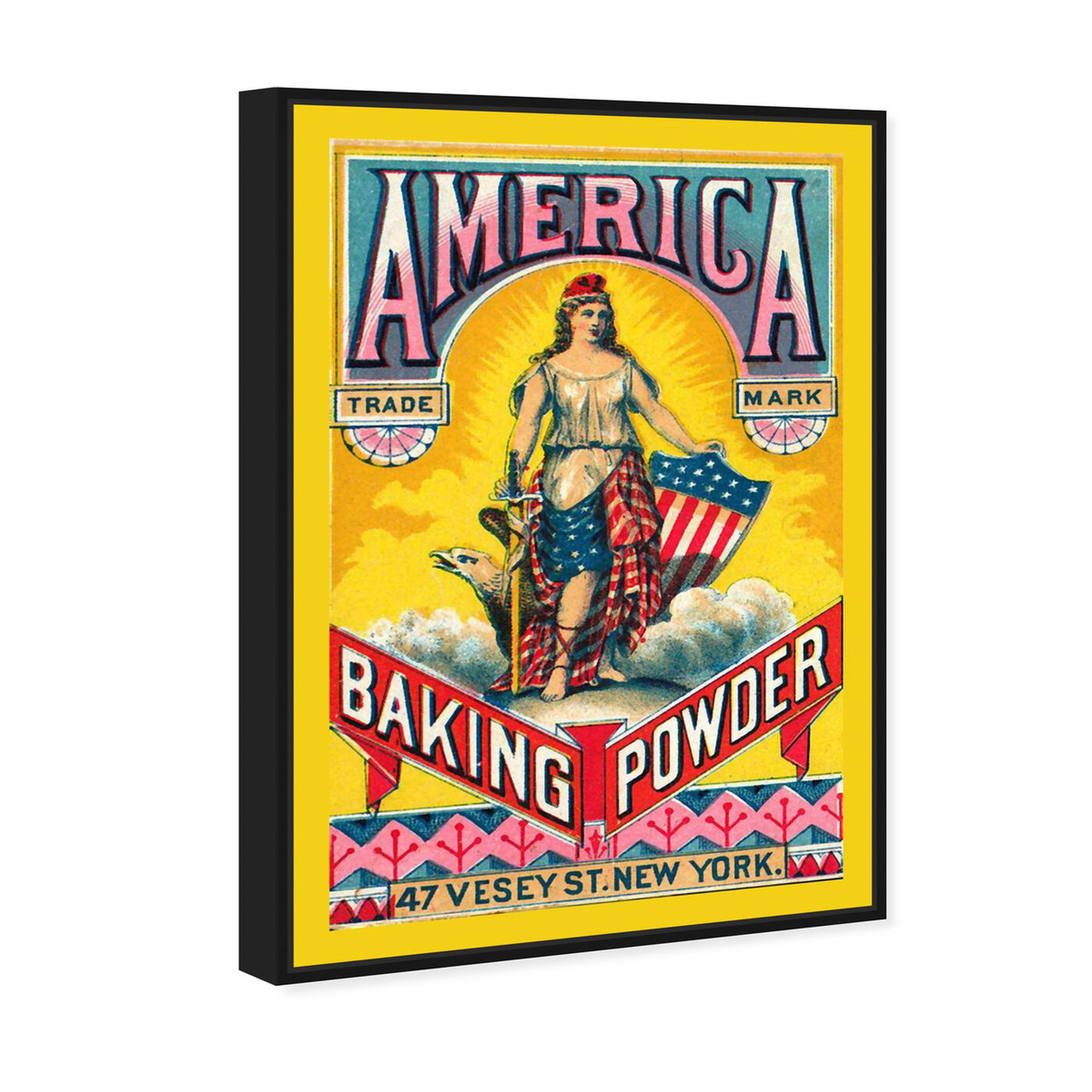 Angled view of America Baking Powder featuring advertising and promotional brands art.