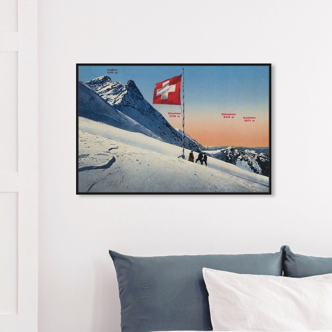 Hanging view of Jungfrau featuring sports and teams and skiing art.