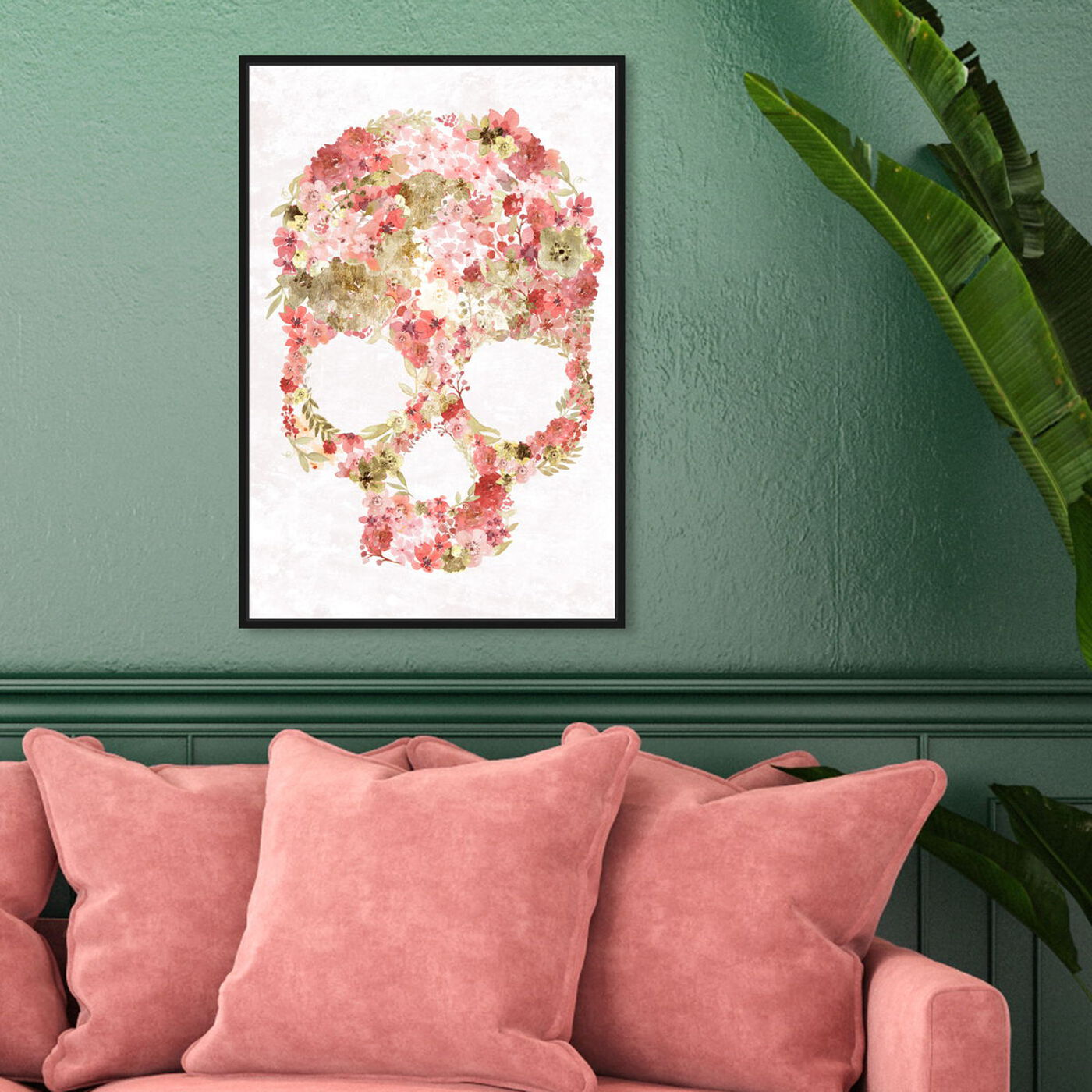 Hanging view of Blush Floral Mindset Gold featuring floral and botanical and florals art.
