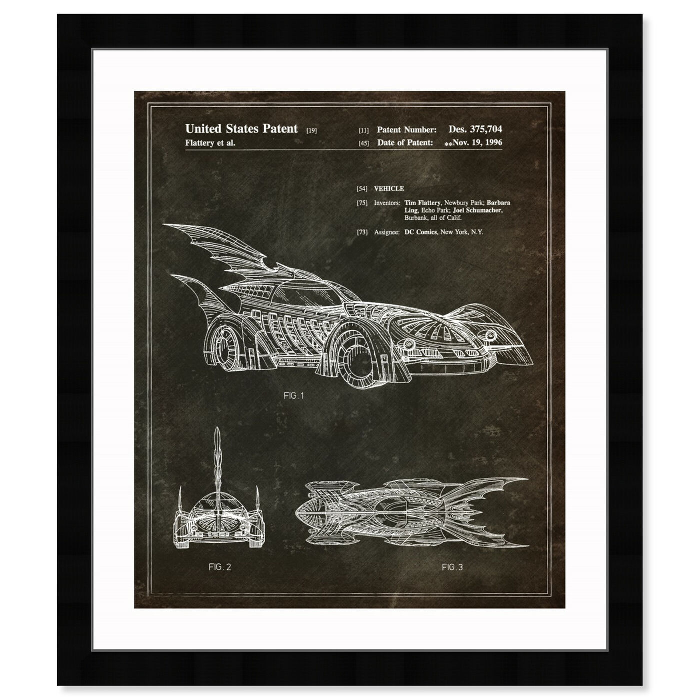 Front view of Batmobile 1996 II featuring movies and tv and action movies art.