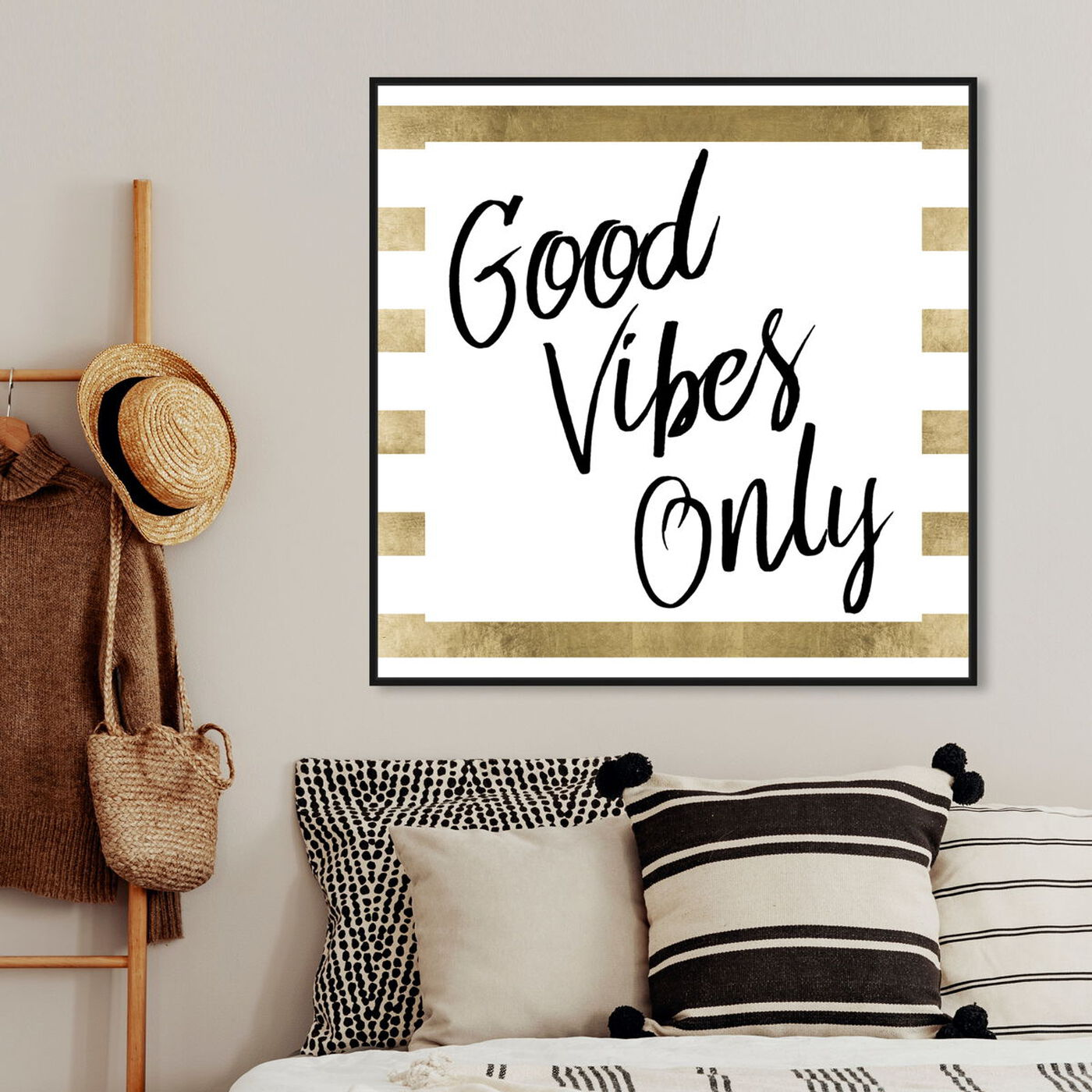 Hanging view of Good Vibes Only Gold featuring typography and quotes and inspirational quotes and sayings art.