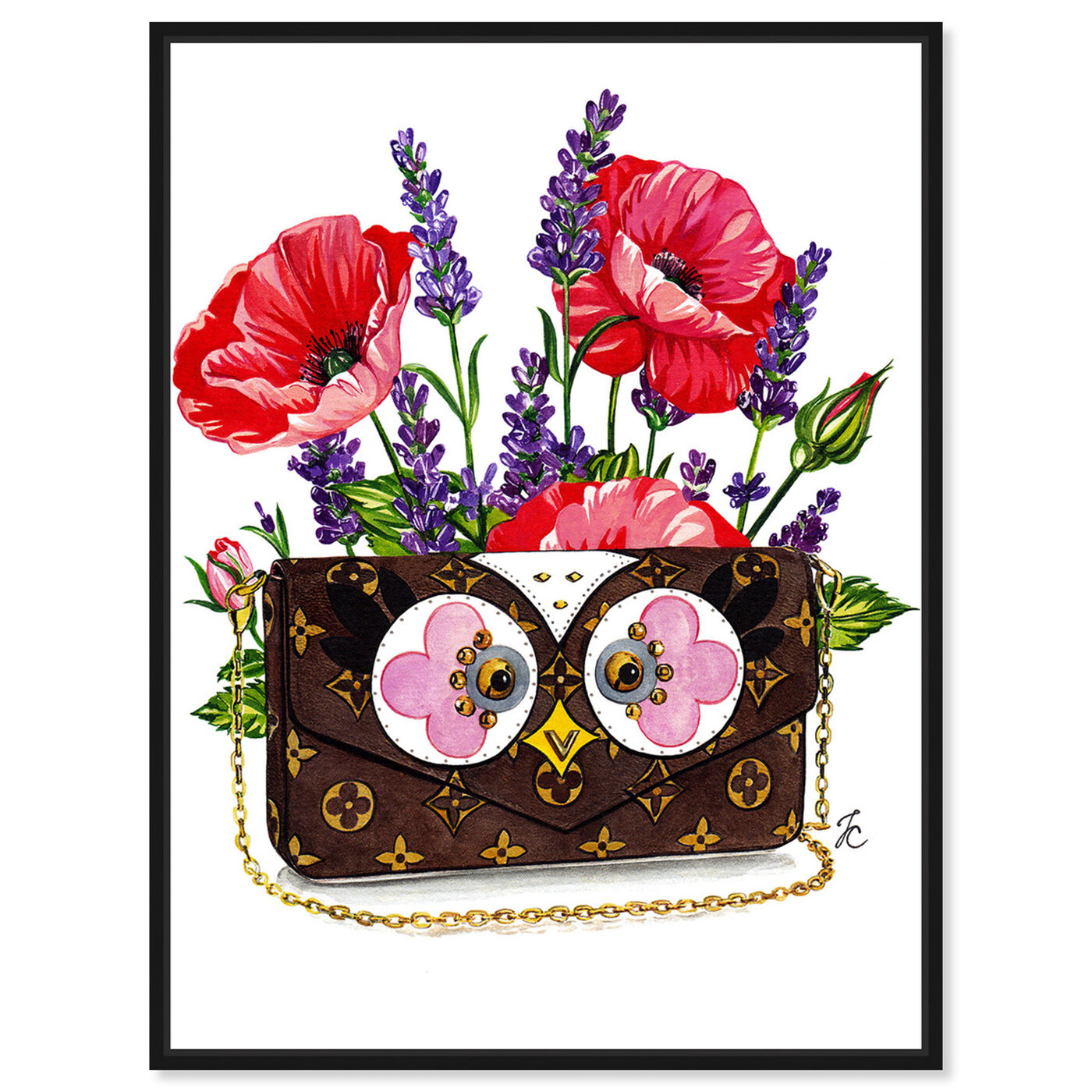 Front view of Doll Memories - Poppies and Owl featuring fashion and glam and handbags art.