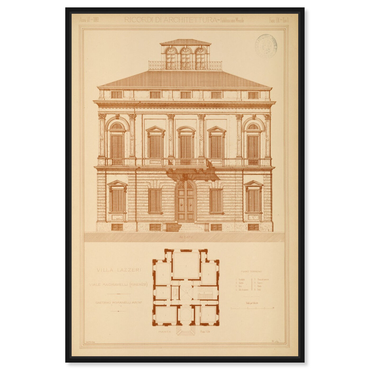 Front view of Villa Lazzeri - The Art Cabinet featuring architecture and buildings and structures art.