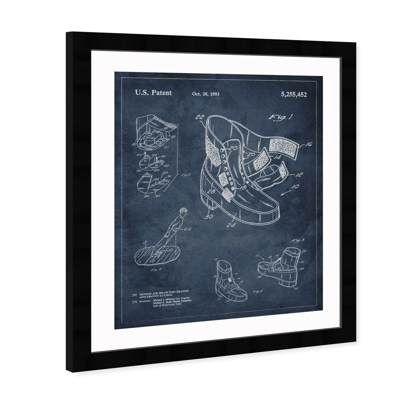Angled view of Michael Jackson Moonwalk Shoes 1993 featuring music and dance and musicians art.