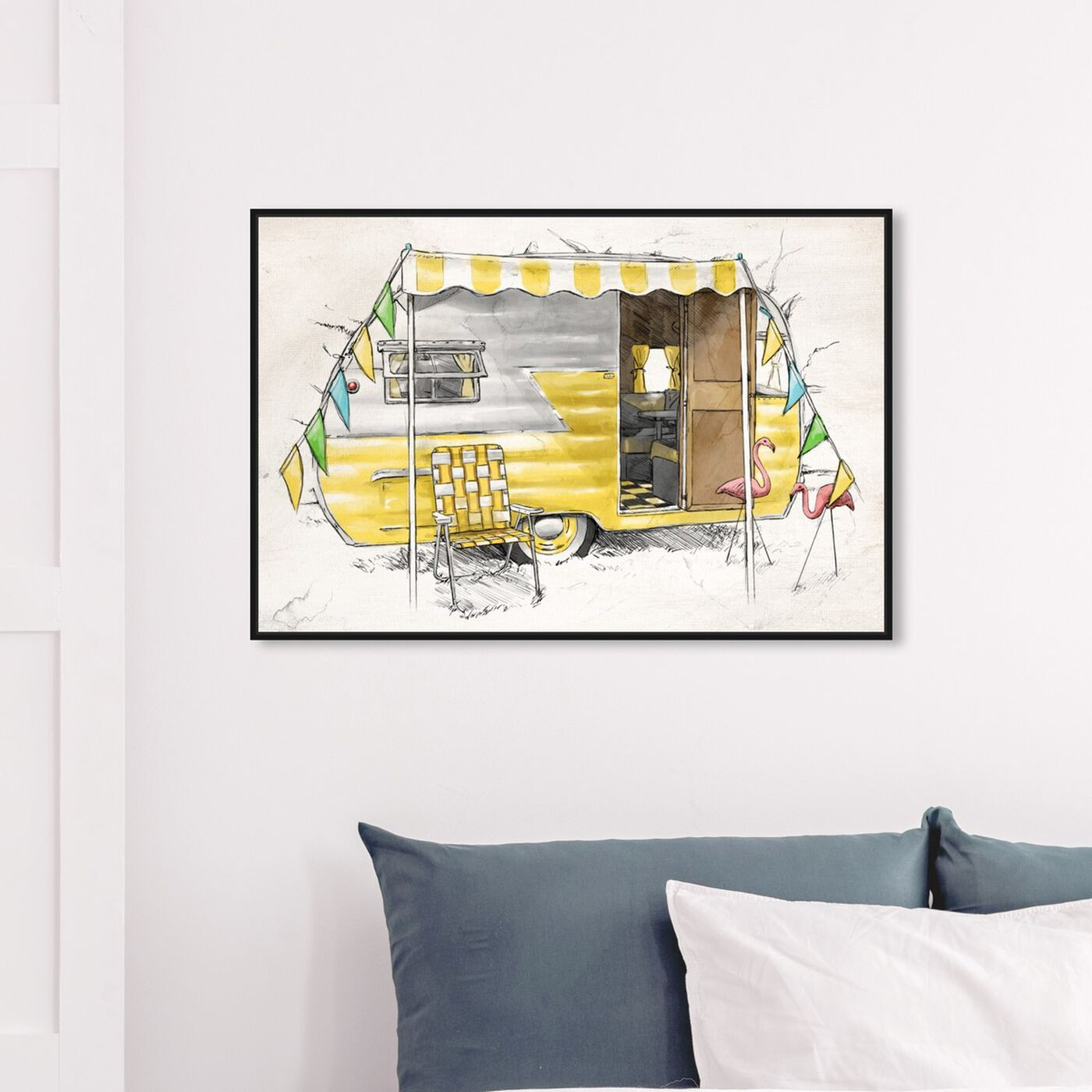 Hanging view of Yellow Camper featuring entertainment and hobbies and camping art.
