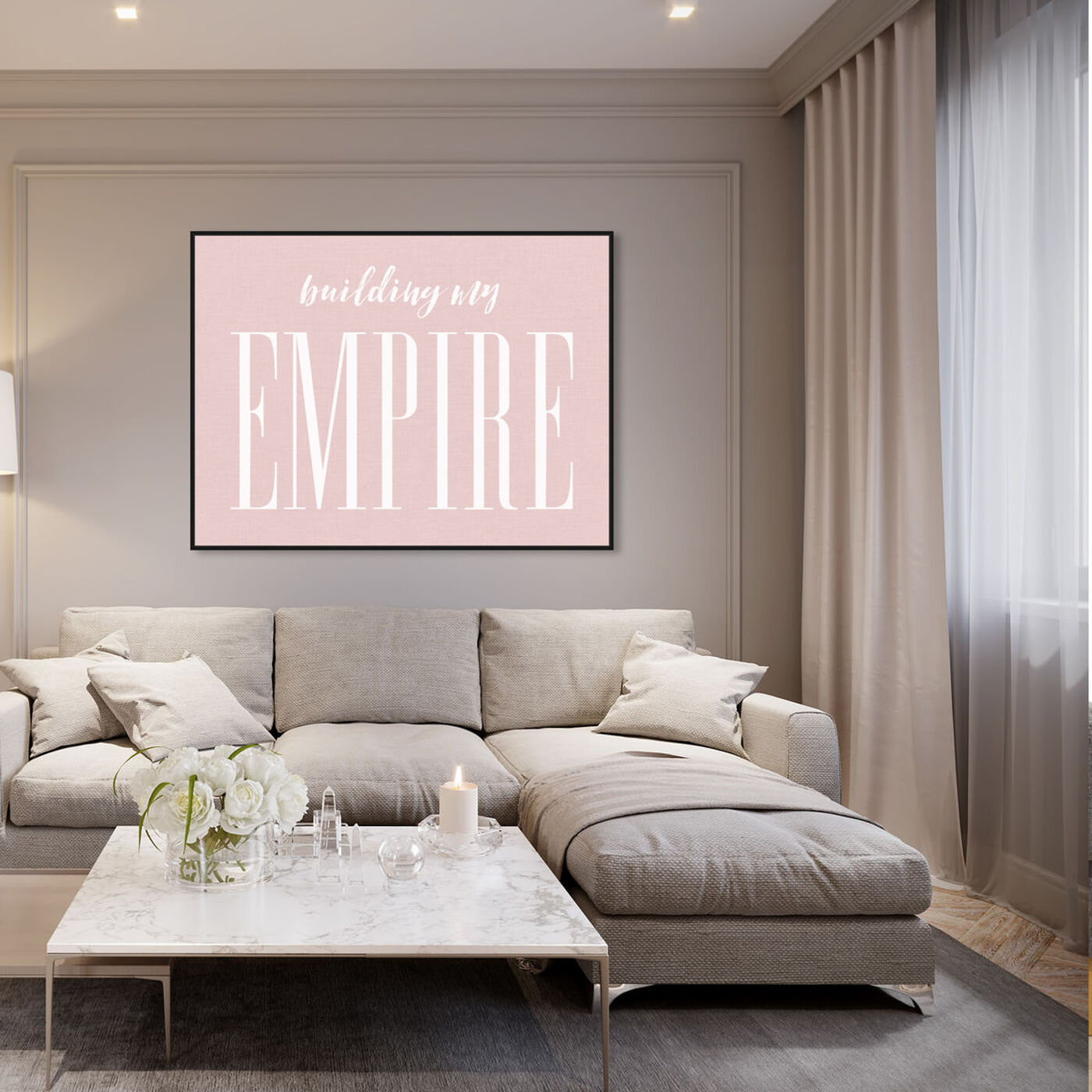 Hanging view of Building my Empire Rose featuring typography and quotes and motivational quotes and sayings art.