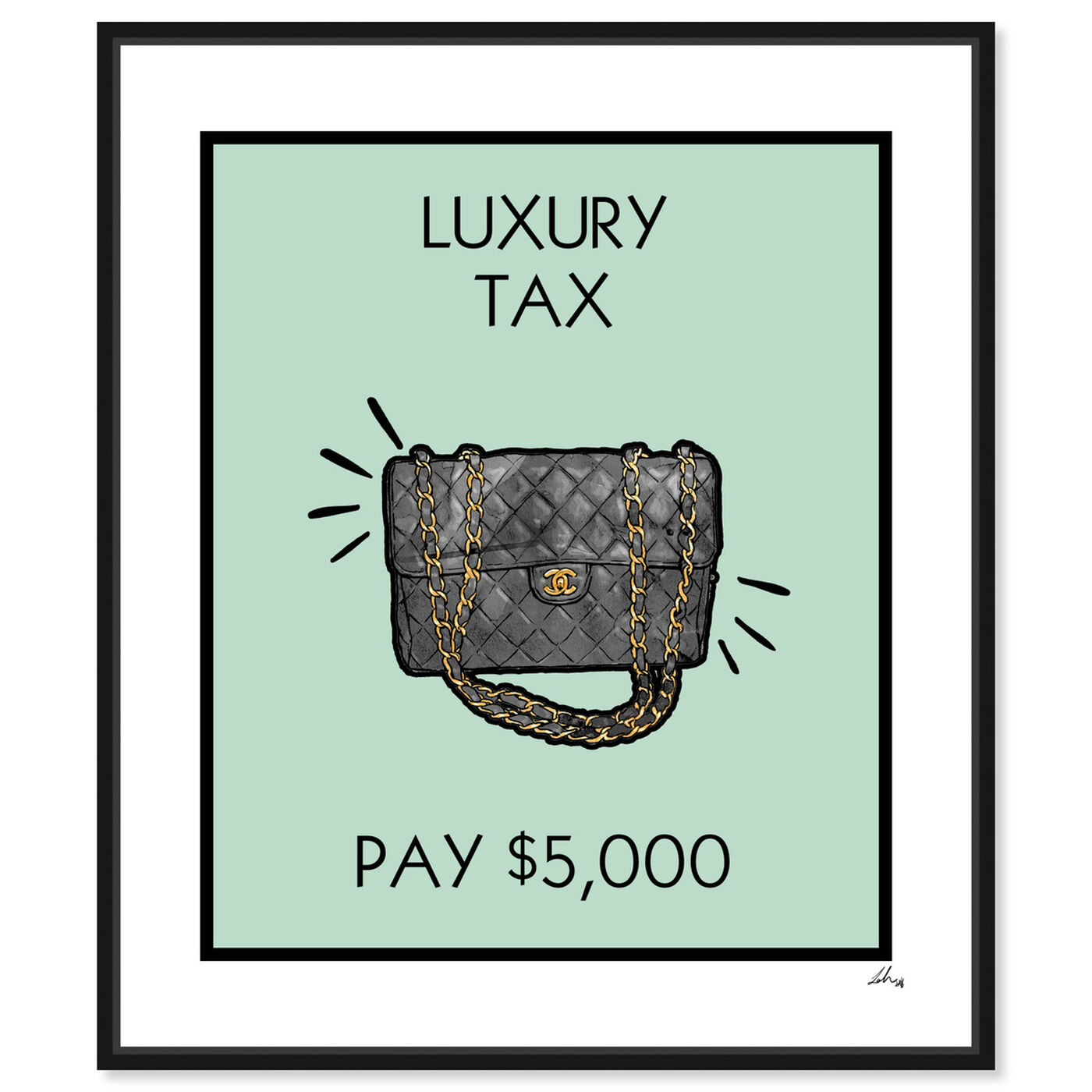 Front view of Luxury Tax Coco featuring fashion and glam and handbags art.